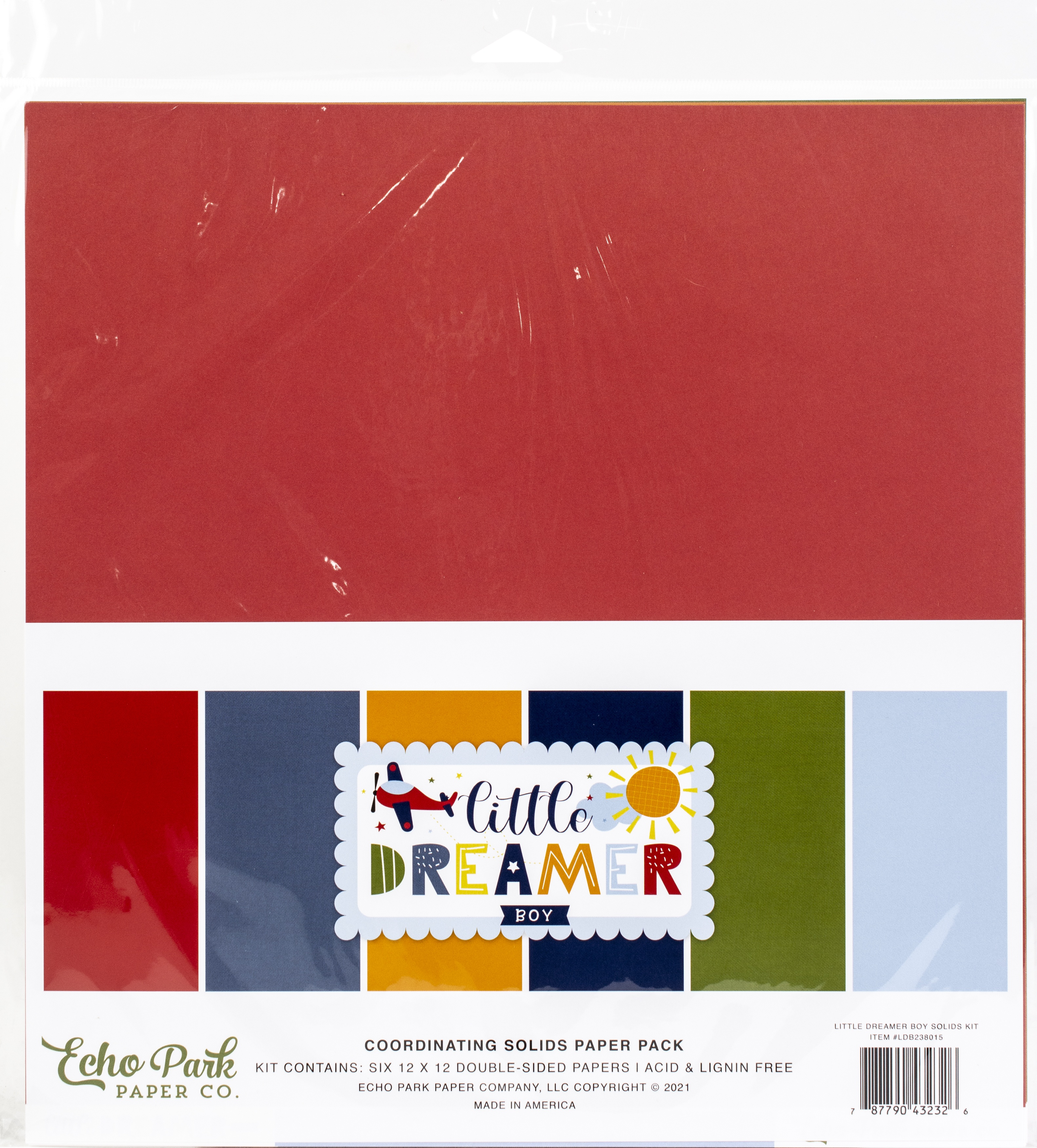 Echo Park Double-Sided Solid Cardstock 12X12 6/Pkg-Little Dreamer Boy, 6 Color...