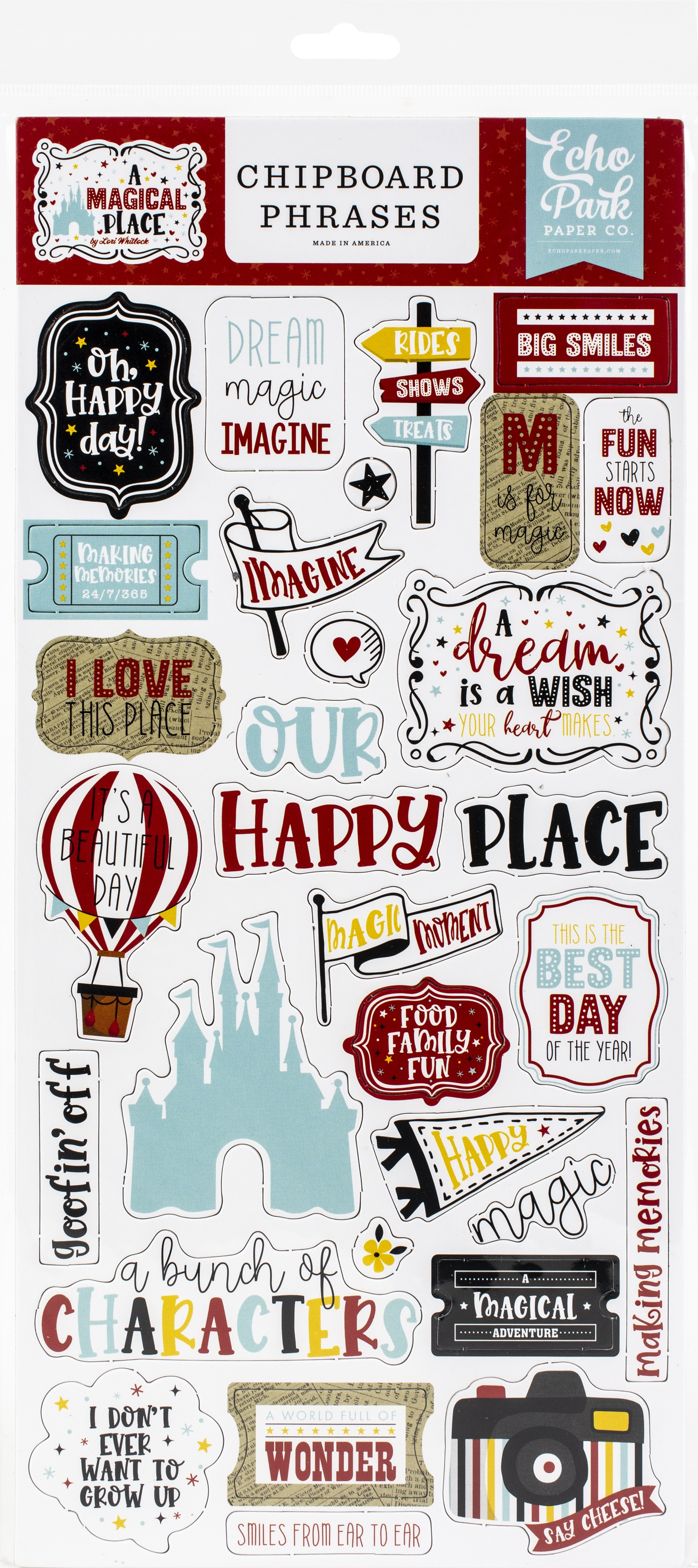 Echo Park - A Magical Place Chipboard Phrases