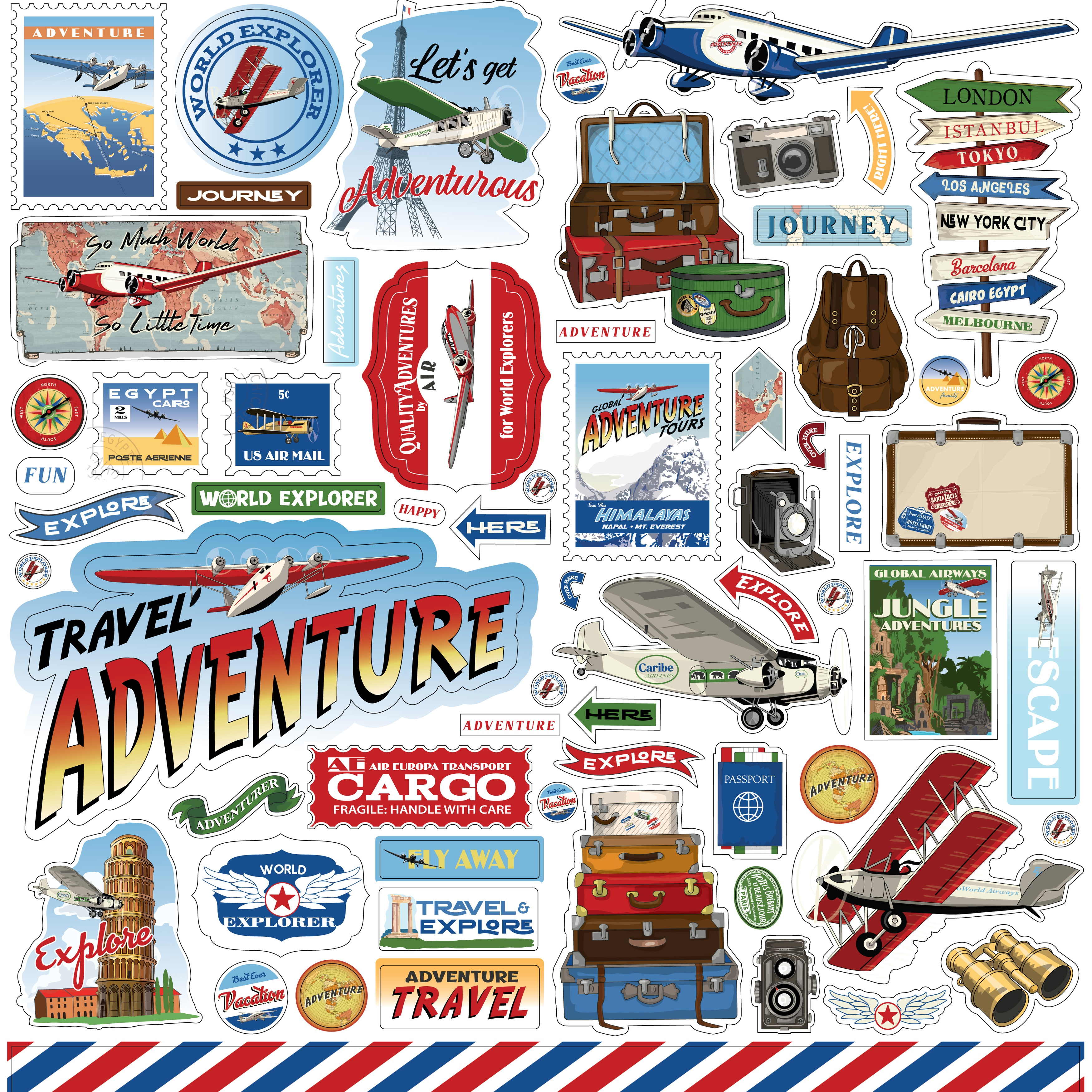 Our Travel Adventure Cardstock Stickers 12X12-Elements