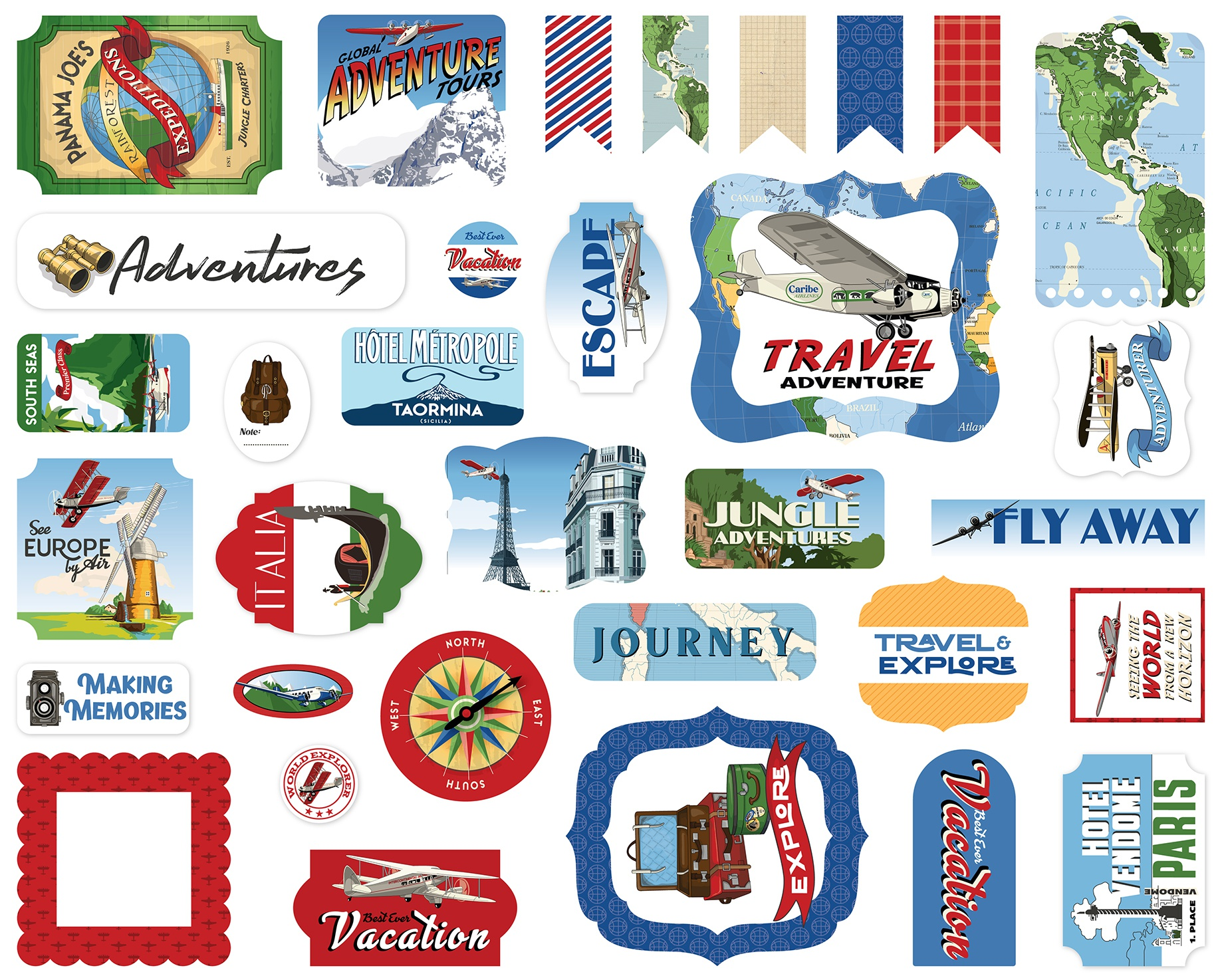 Carta Bella Cardstock Ephemera 33/Pkg-Icons, Our Travel Adventure