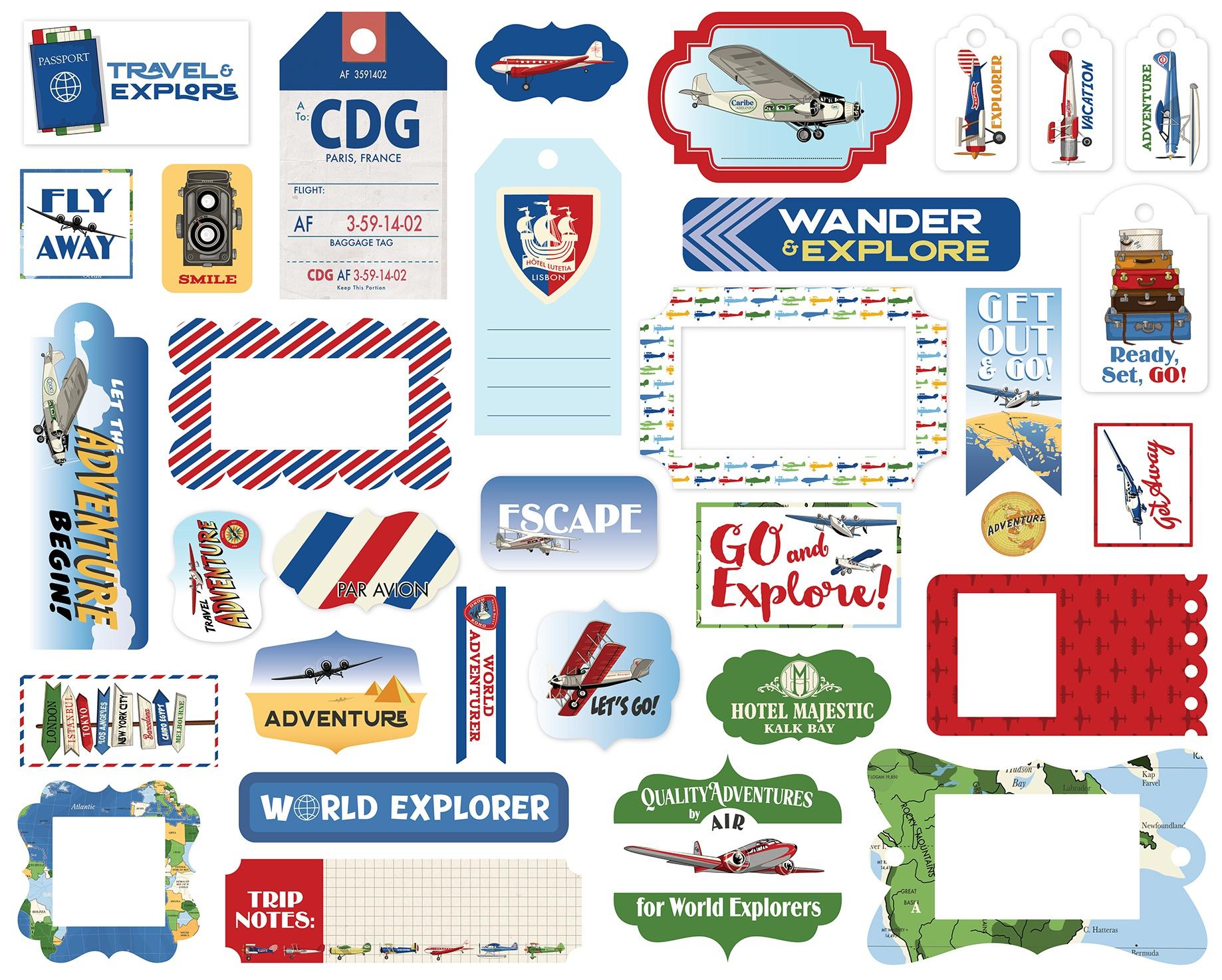 Carta Bella Cardstock Ephemera 33/Pkg-Frames & Tags, Our Travel Adventure