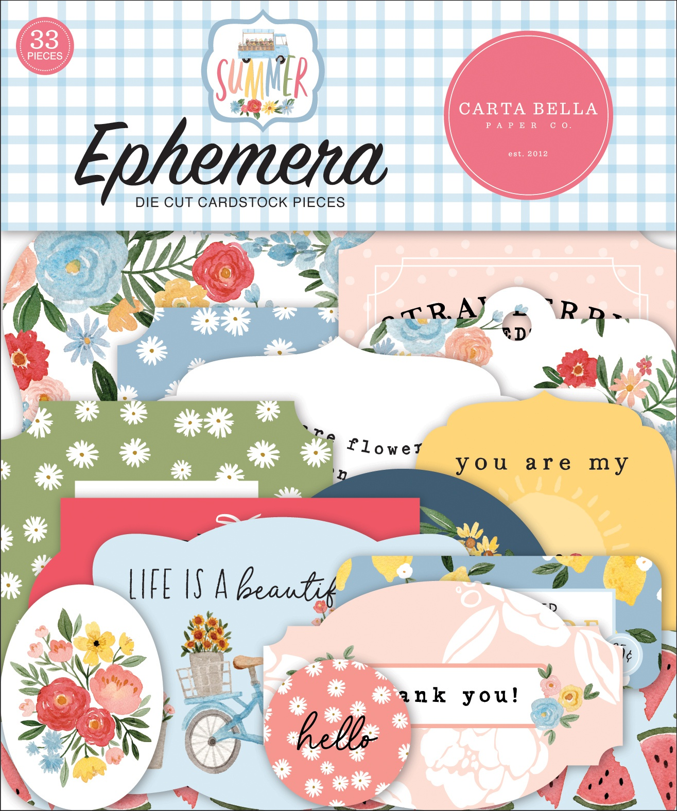Carta Bella Cardstock Ephemera 33/Pkg-Icons, Summer
