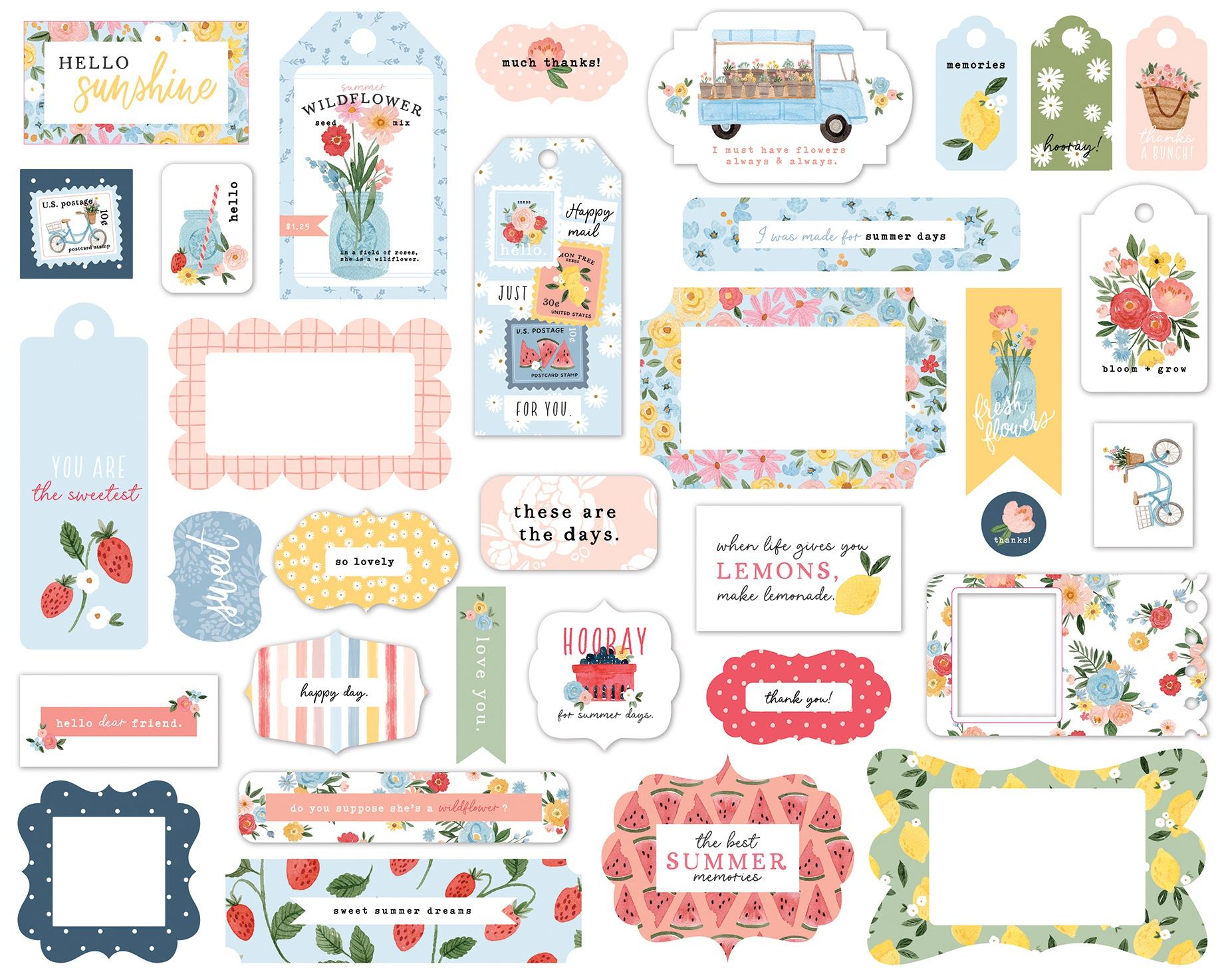 Carta Bella Cardstock Ephemera 33/Pkg-Frames & Tags, Summer