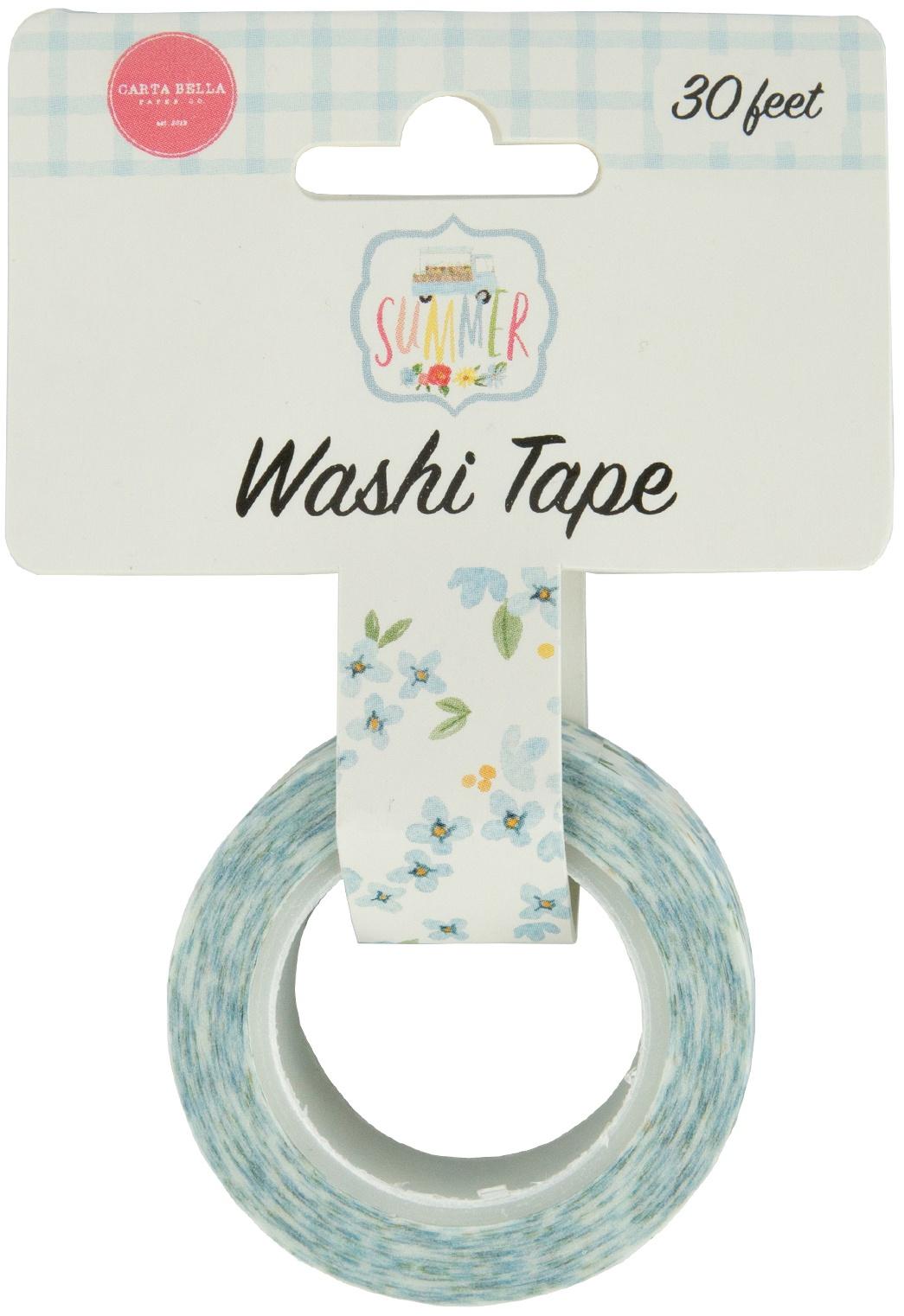 Carta Bella Flower Garden Washi Tape 30'-Blue Blooms