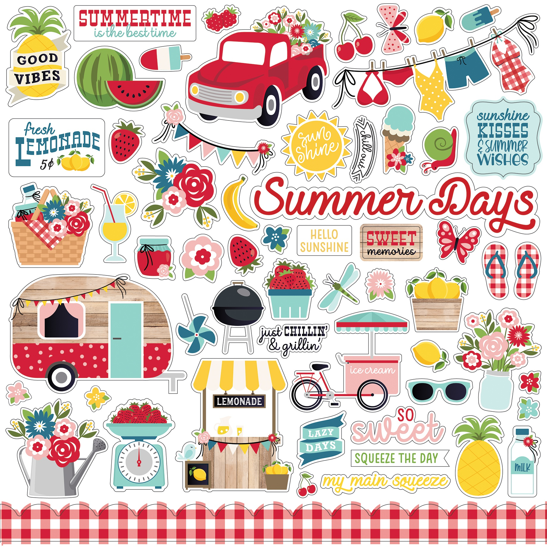 A Slice Of Summer Cardstock Stickers 12X12-Elements