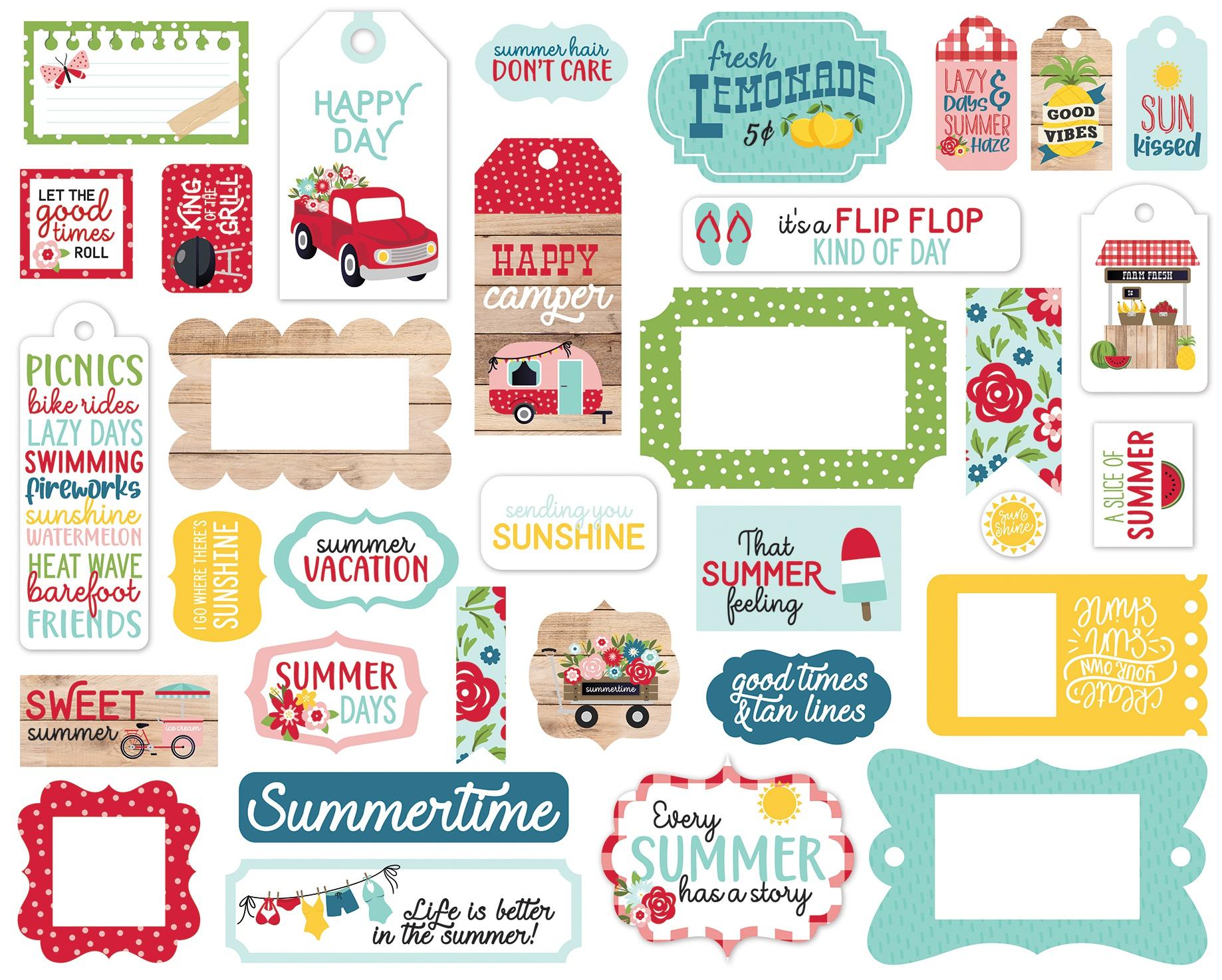 Echo Park Cardstock Ephemera 33/Pkg-Frames & Tags, A Slice Of Summer
