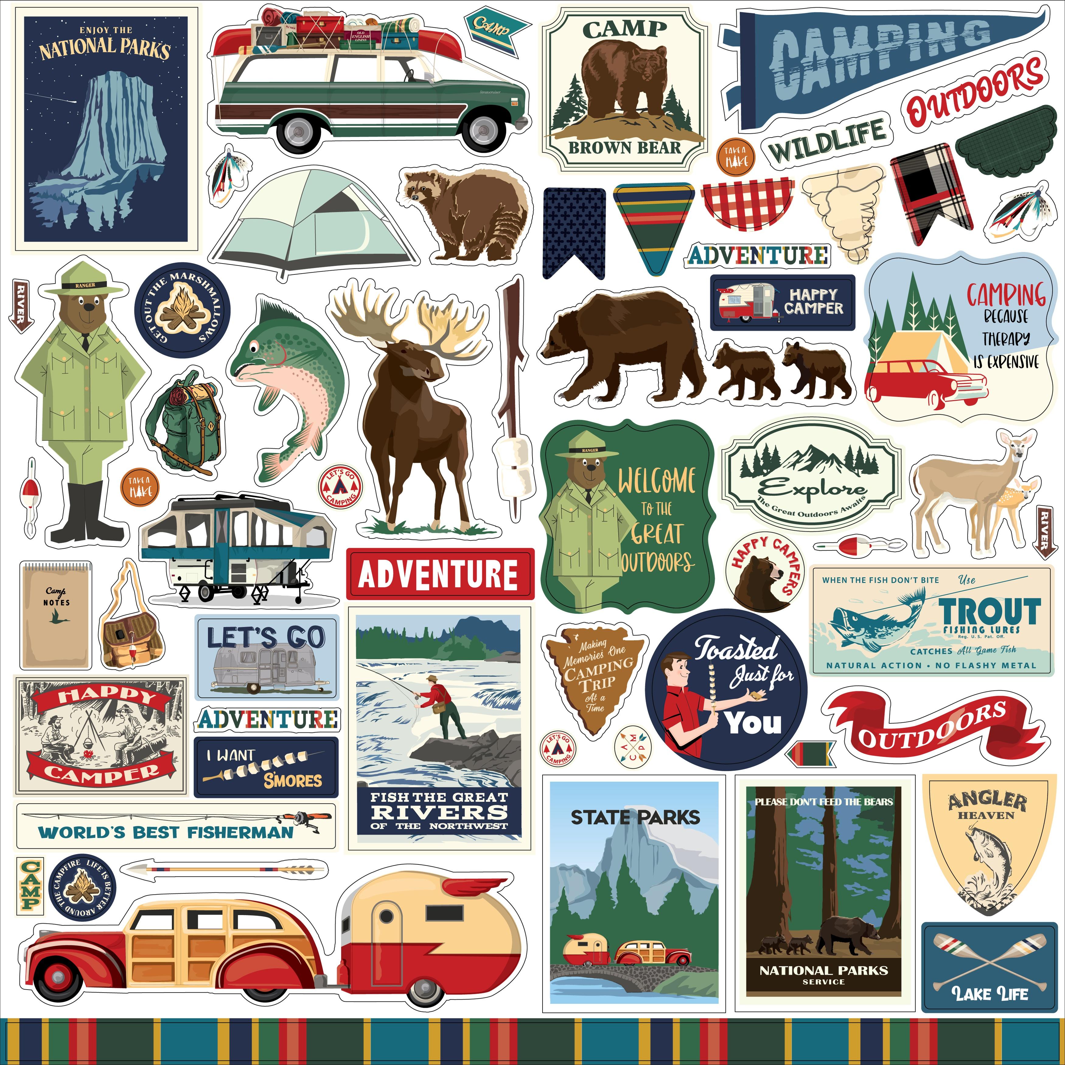 Outdoor Adventures Cardstock Stickers 12X12-Elements