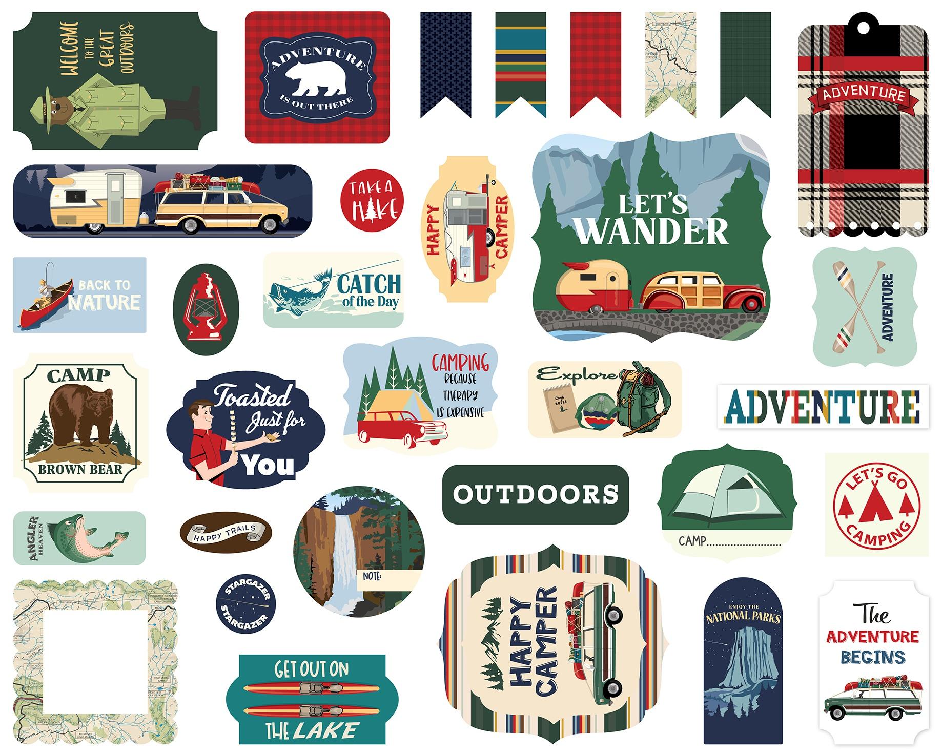 Carta Bella Cardstock Ephemera 33/Pkg-Icons, Outdoor Adventures