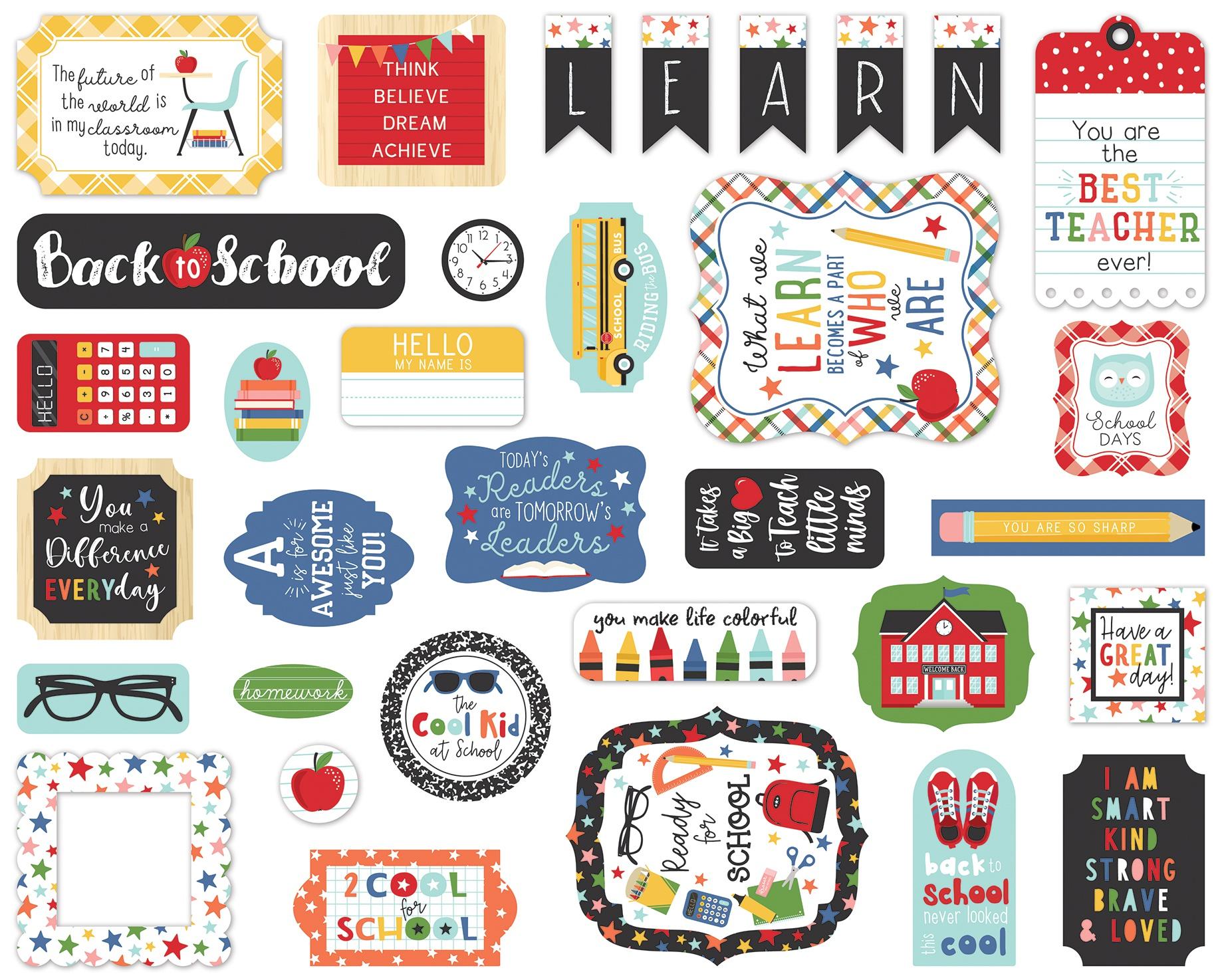 Echo Park Cardstock Ephemera 33/Pkg-Icons, I Love School