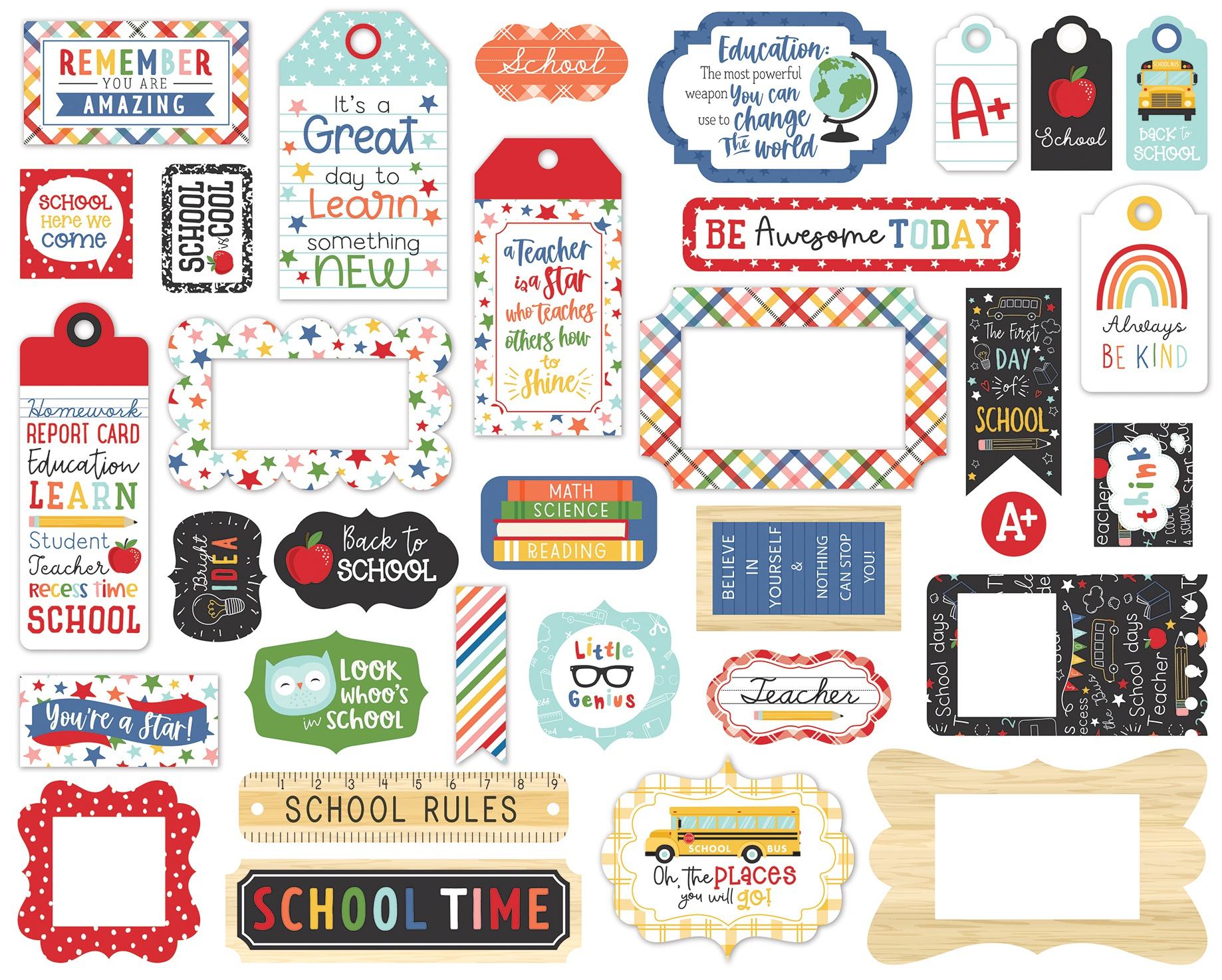 Echo Park Cardstock Ephemera 33/Pkg-Frames & Tags, I Love School