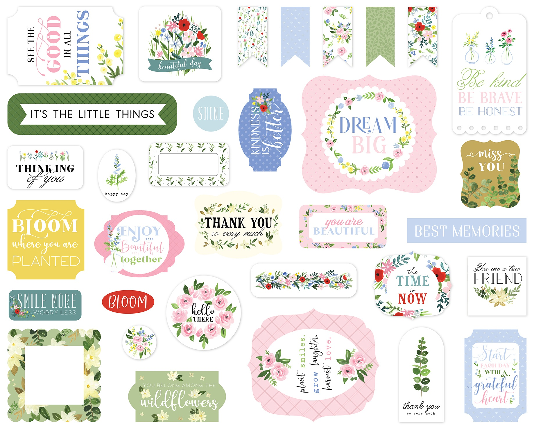 Carta Bella Cardstock Ephemera 33/Pkg-Icons, Flora No