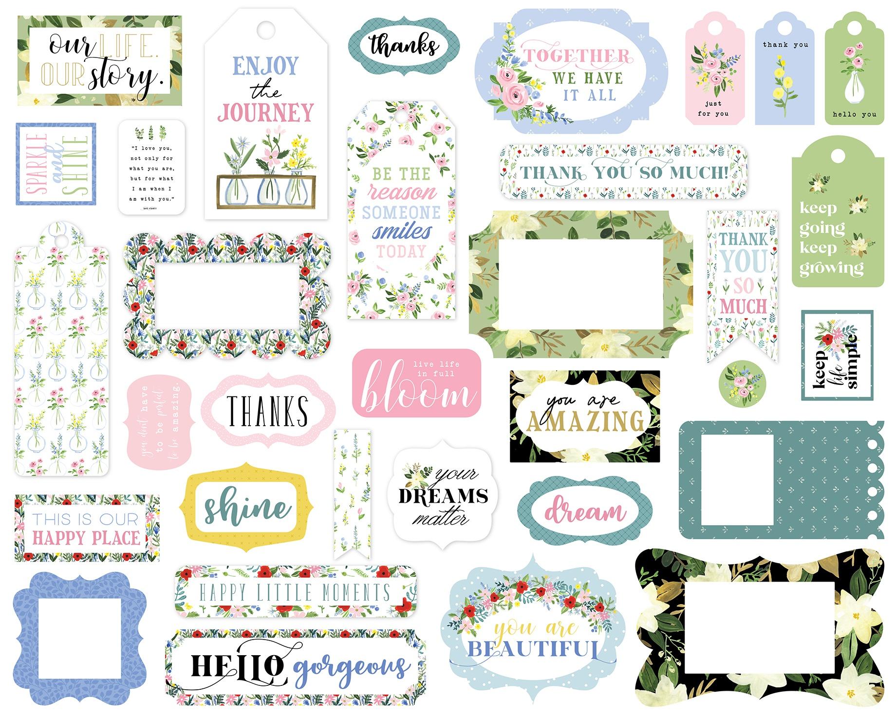 Carta Bella Cardstock Ephemera 33/Pkg-Frames & Tags, Flora No. 4