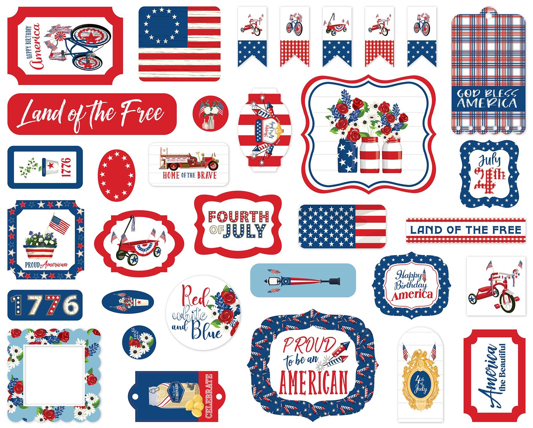 Carta Bella Cardstock Ephemera 33/Pkg-Icons, God Bless America