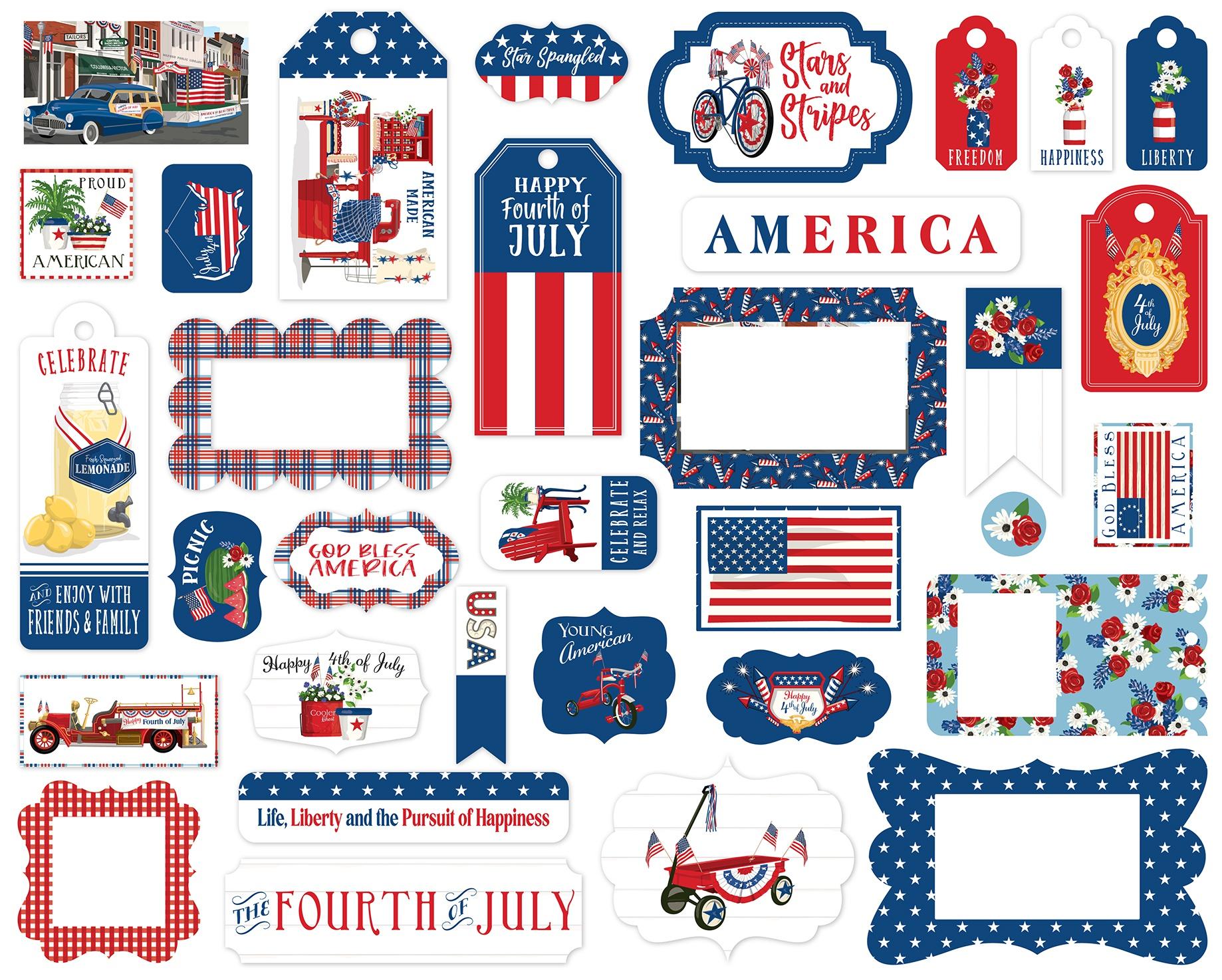 Carta Bella Cardstock Ephemera 33/Pkg-Frames & Tags, God Bless America