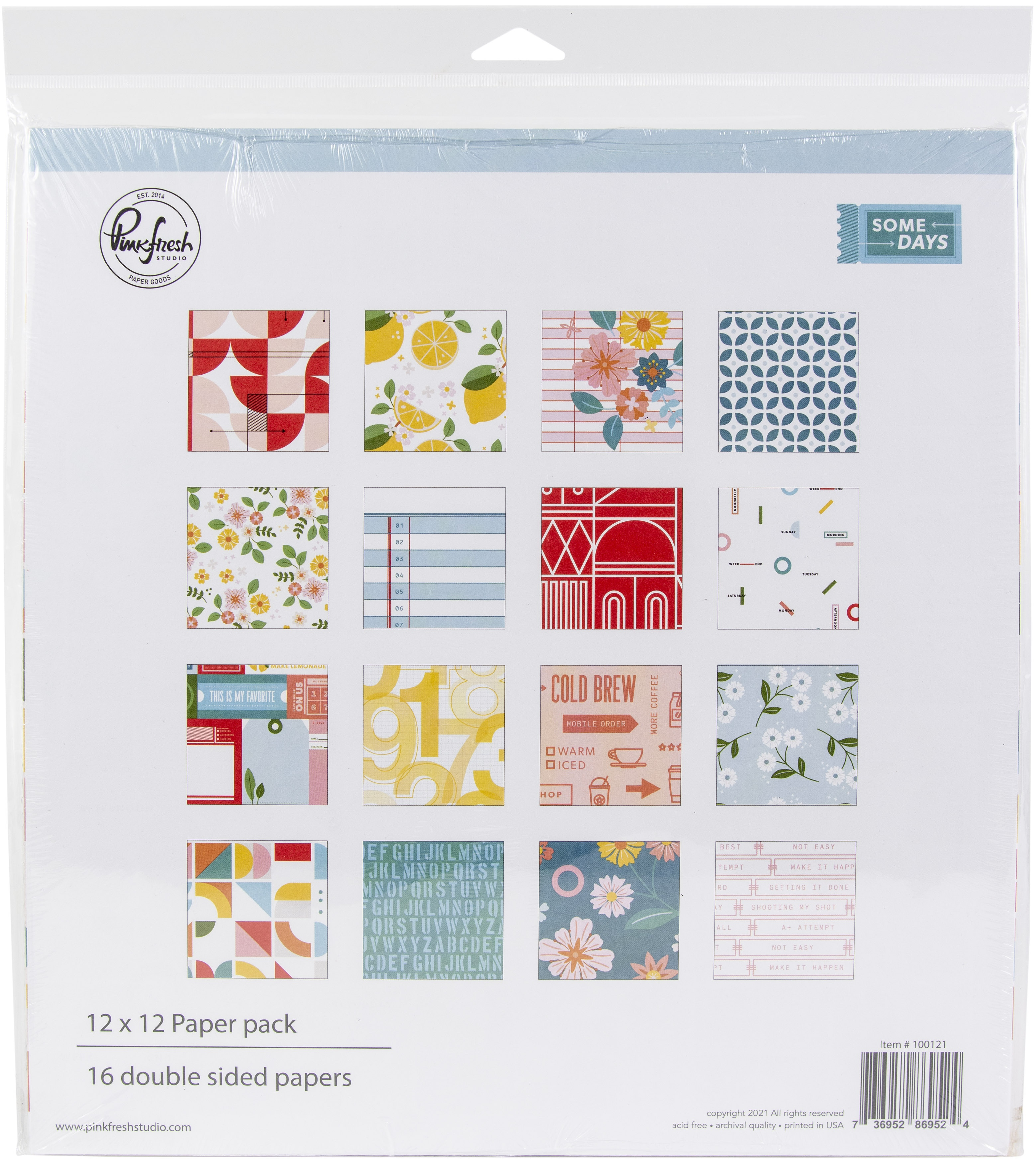 PinkFresh Studio Double-Sided Paper Pack 12X12 16/Pkg-Some Days, 8 Designs/2 Each