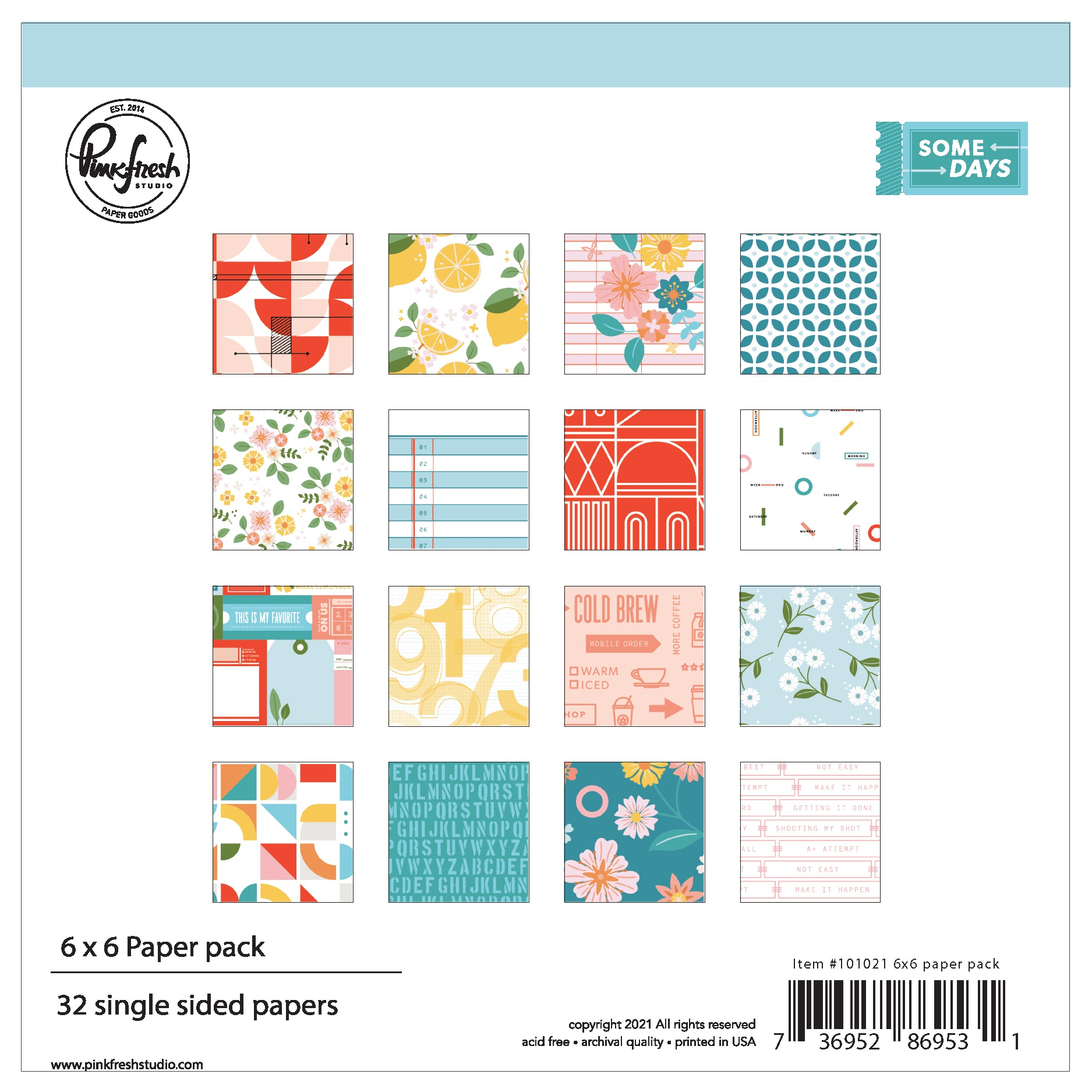 PinkFresh Studio Single-Sided Paper Pack 6X6 32/Pkg-Some Days, 16 Designs/2 Ea...