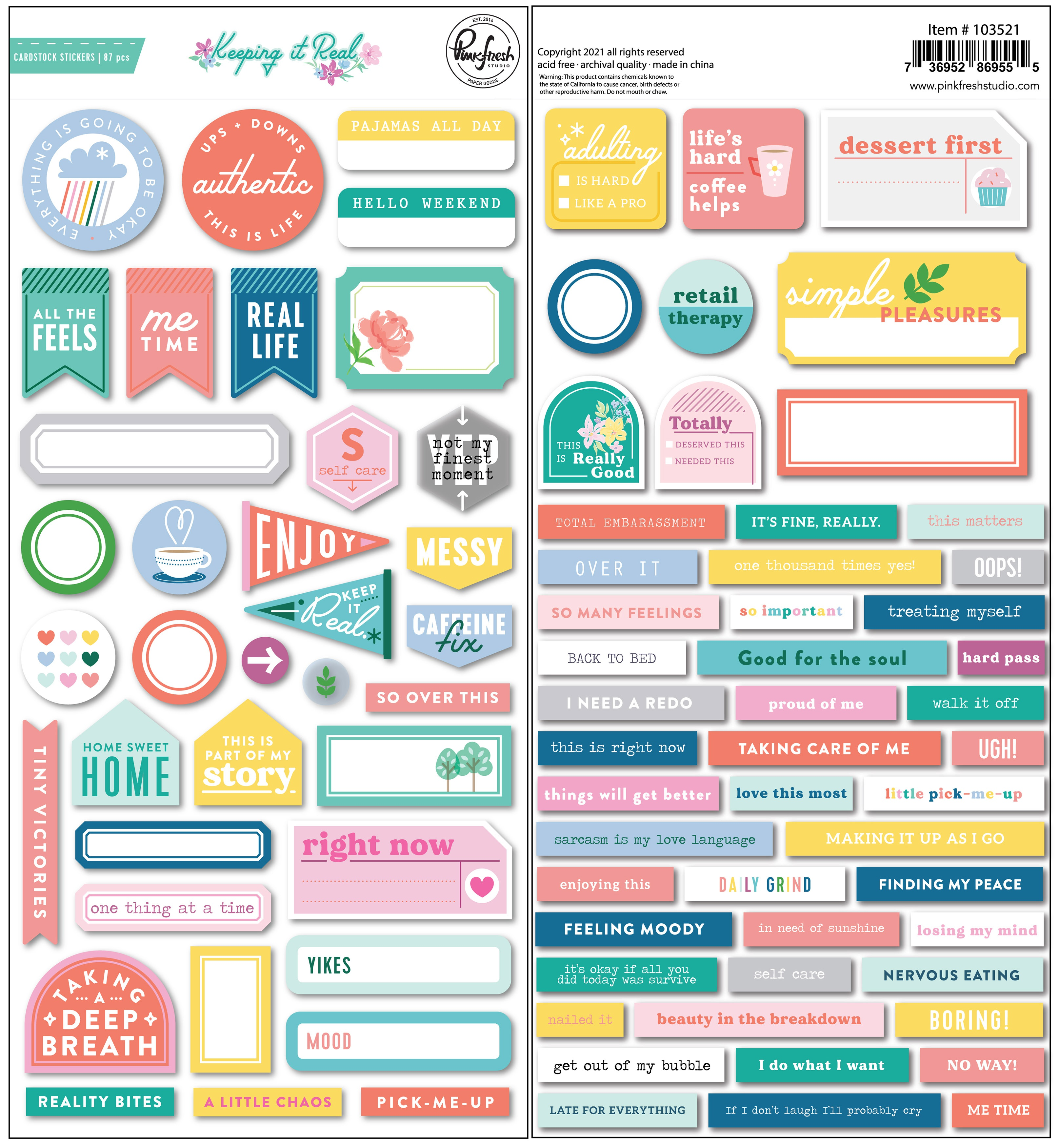 PinkFresh Cardstock Stickers-Keeping It Real