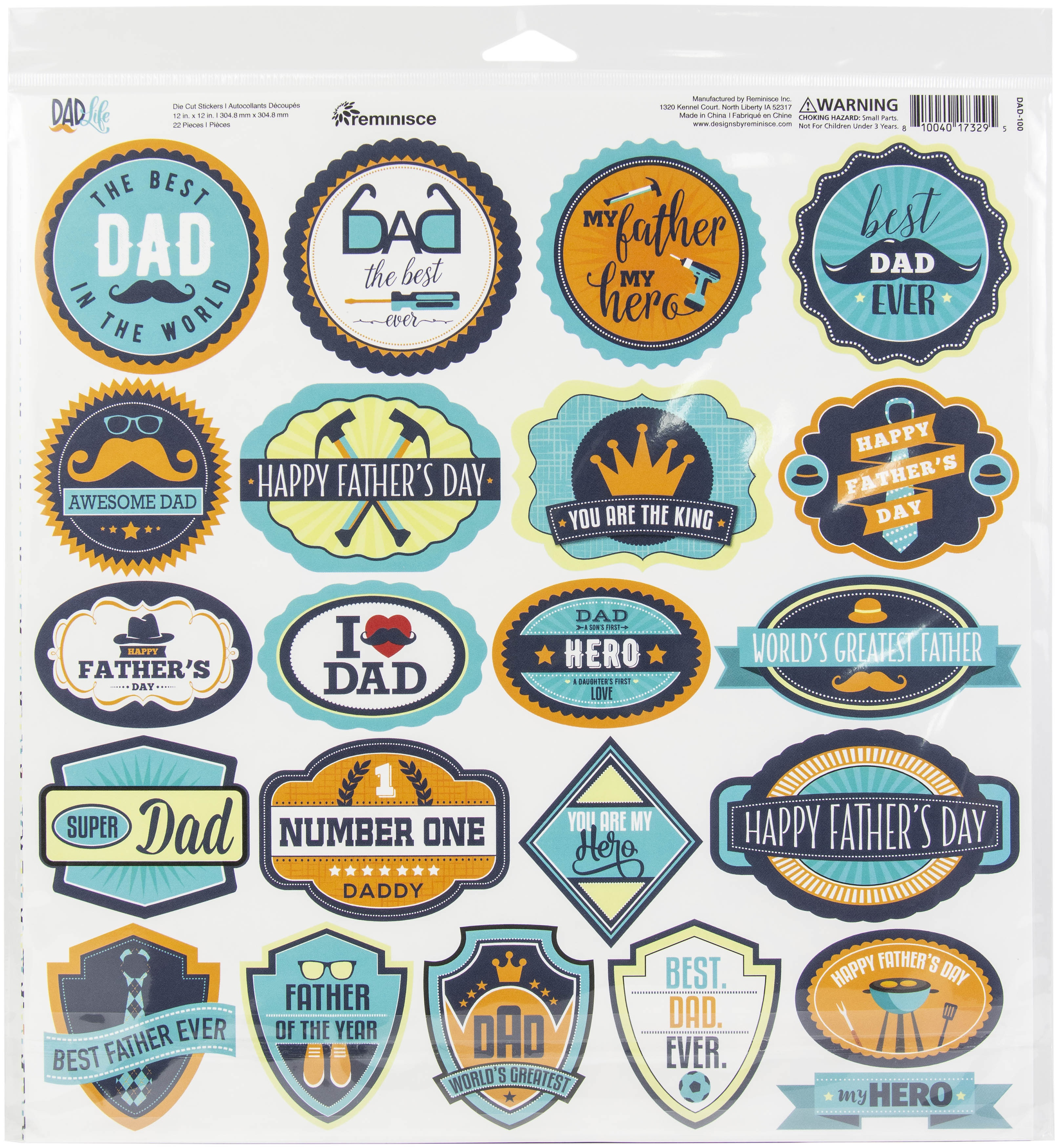Reminisce Label Cardstock Stickers 12X12-Dad Life