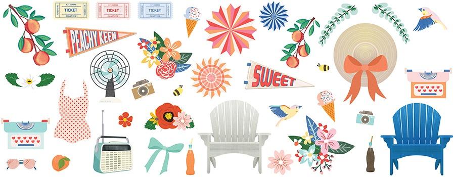 Peachy Keen Ephemera Cardstock Die-Cuts-