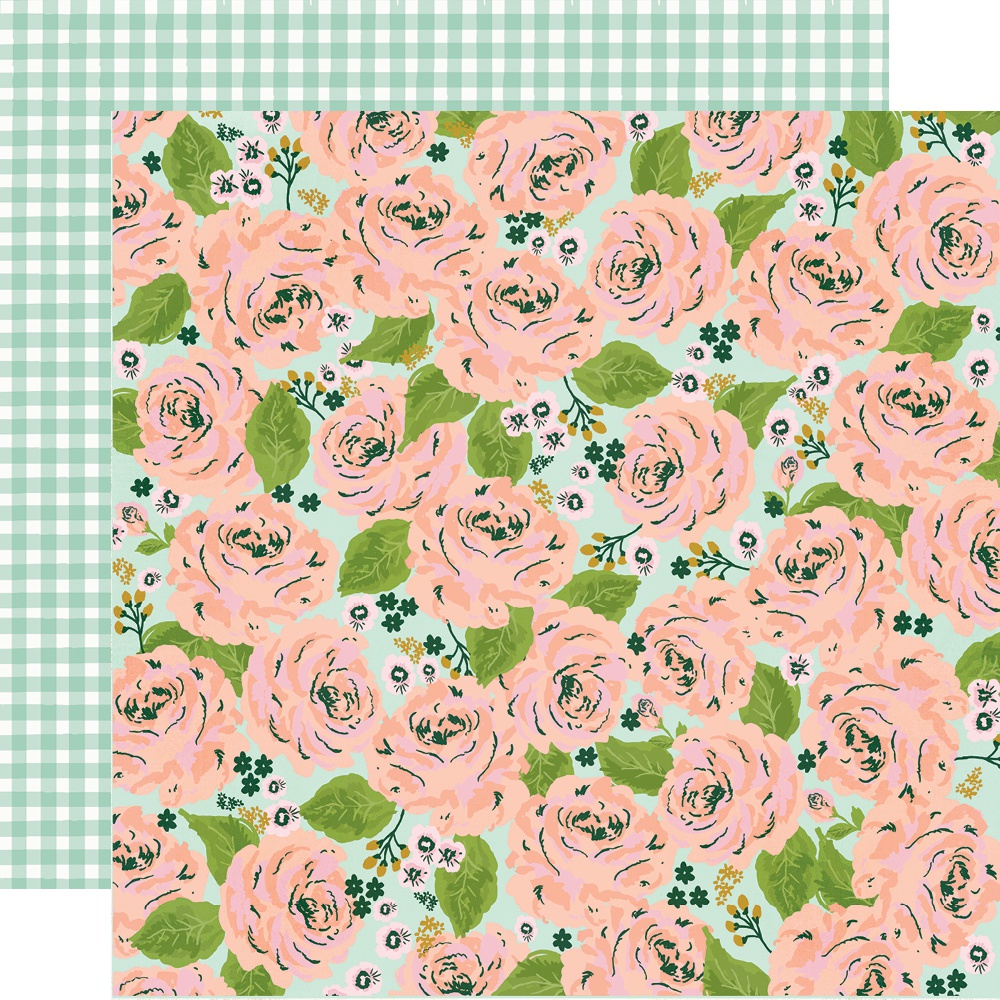 Click for more images Bunnies & Blooms Double-Sided Cardstock 12X12-Garden Party