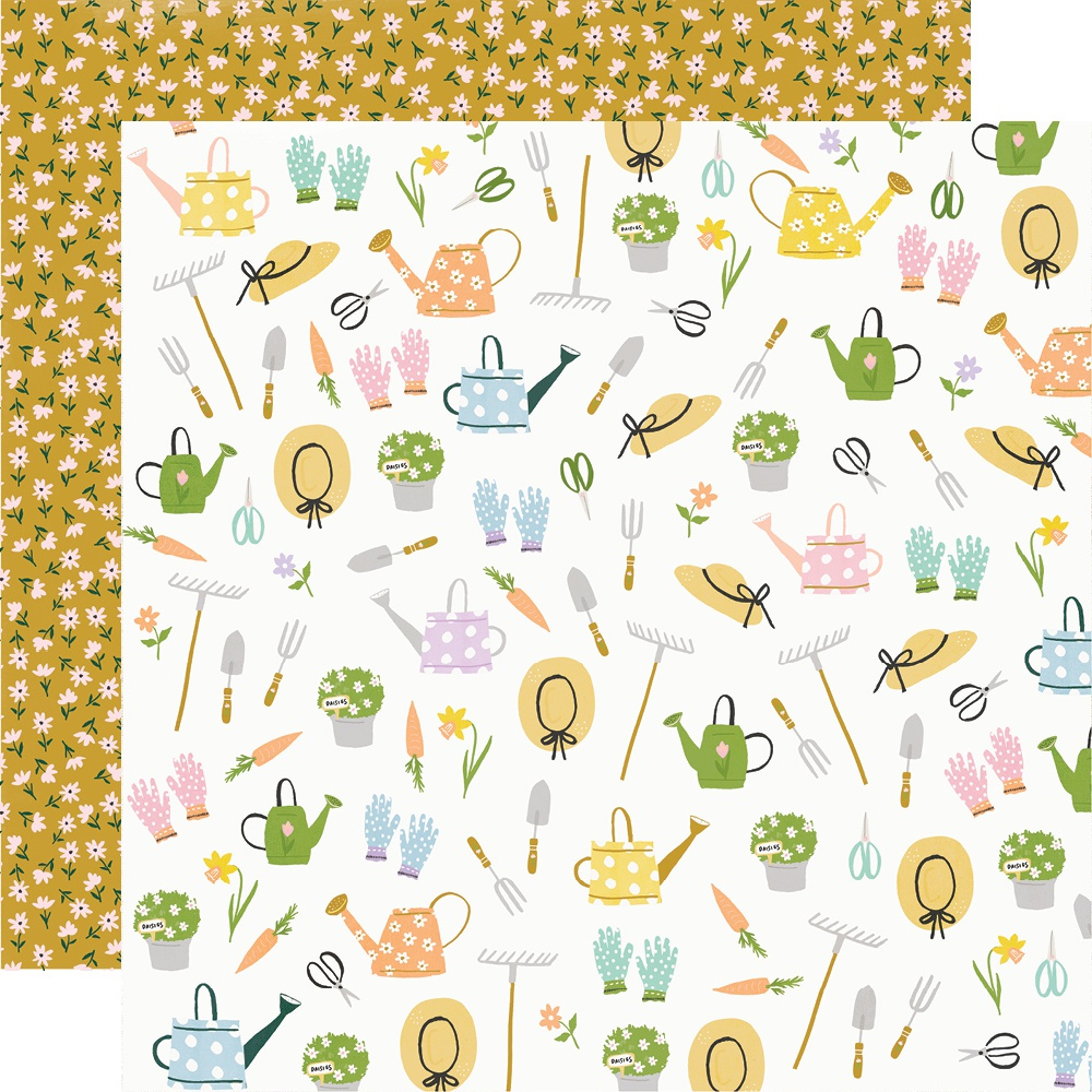 Bunnies & Blooms Double-Sided Cardstock 12X12-Garden Party