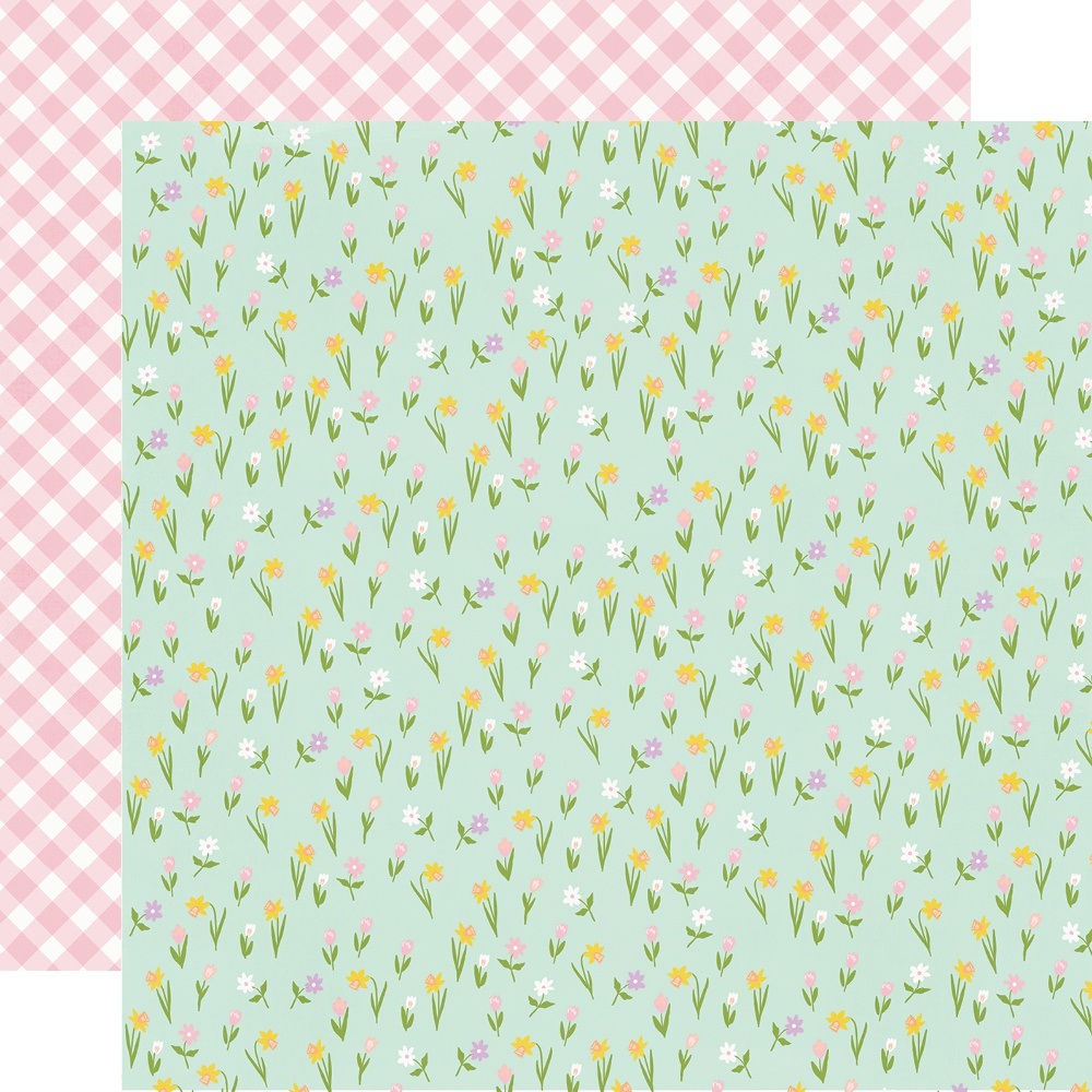 Bunnies & Blooms Double-Sided Cardstock 12X12-Choose Happy