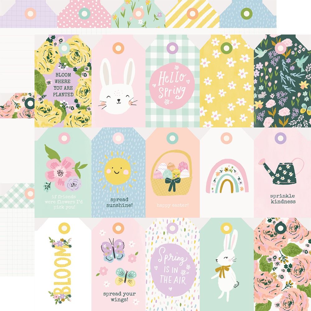 Bunnies & Blooms Double-Sided Cardstock 12X12-Tags