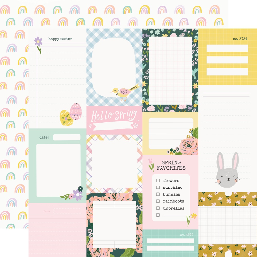 Bunnies & Blooms Double-Sided Cardstock 12X12-Journal Elements