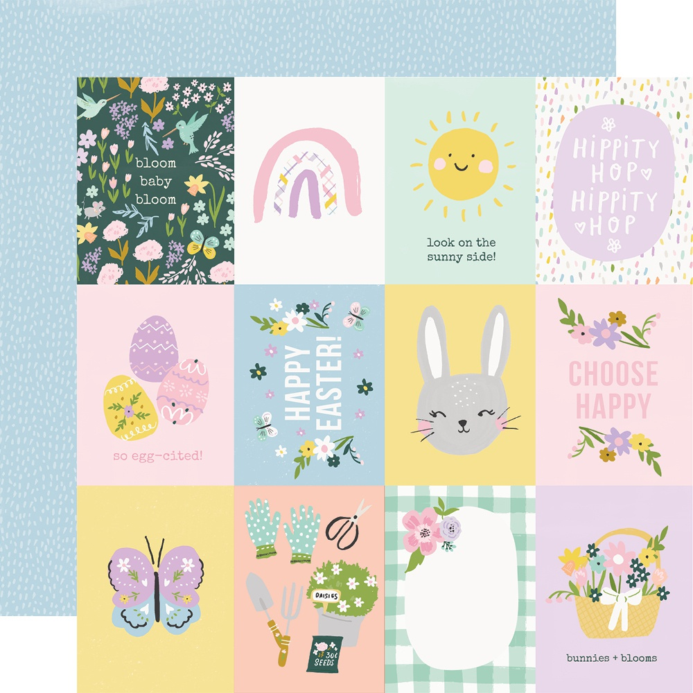 Bunnies & Blooms Double-Sided Cardstock 12X12-3X4 Elements