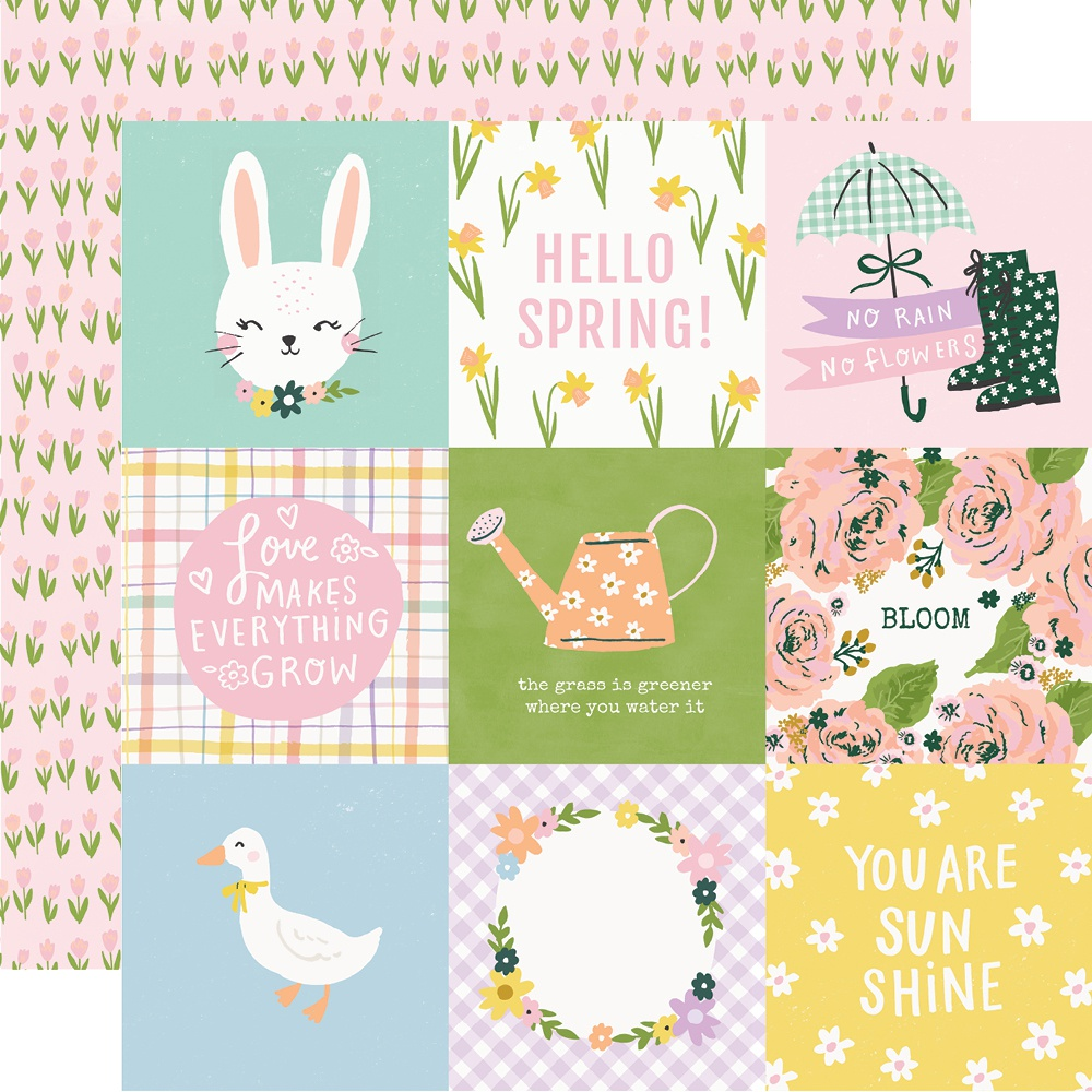 Bunnies & Blooms Double-Sided Cardstock 12X12-4X4 Elements