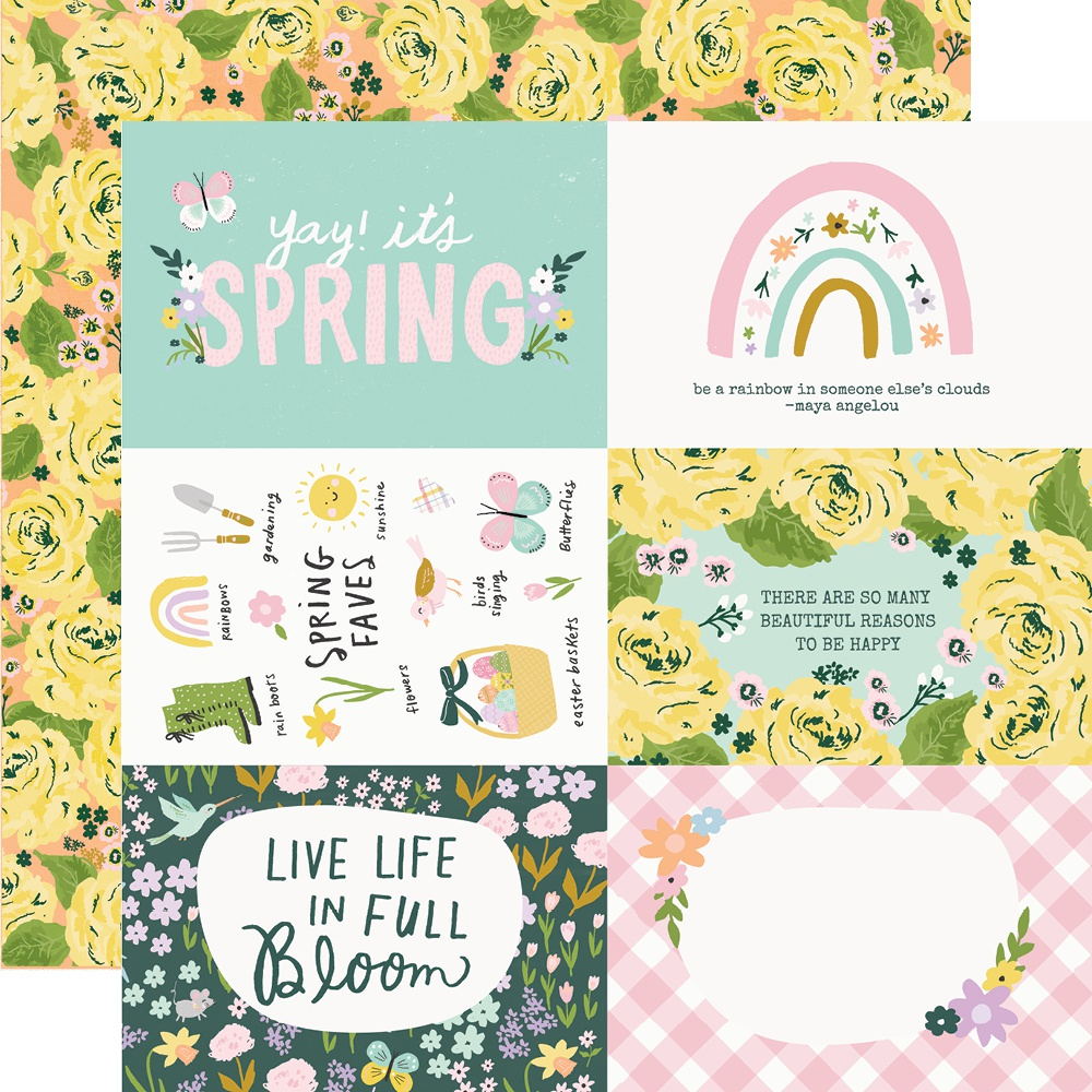 Bunnies & Blooms Double-Sided Cardstock 12X12-4X6 Elements