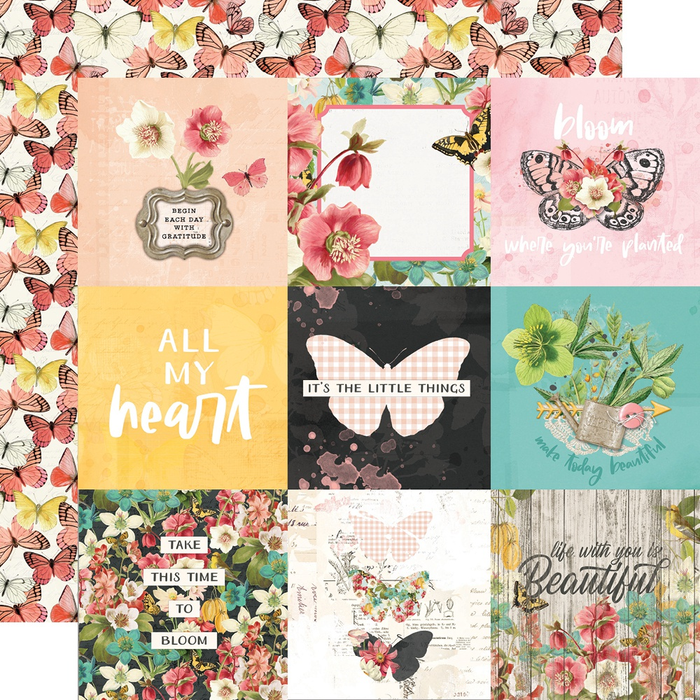 Simple Vintage Cottage Fields Double-Sided Cardstock 12X12-4X4 Elements
