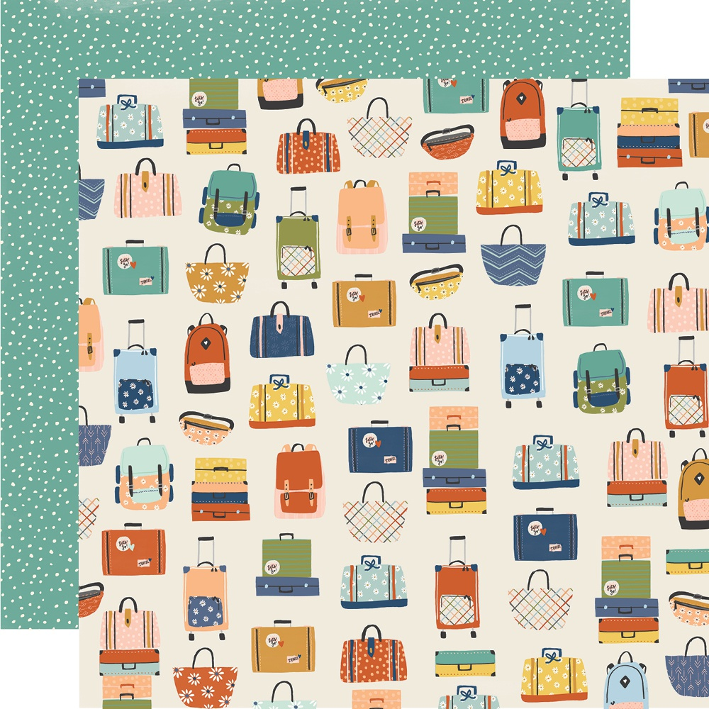Simple Stories - Safe Travels Double-Sided Cardstock - Baggage Claim, 12x12