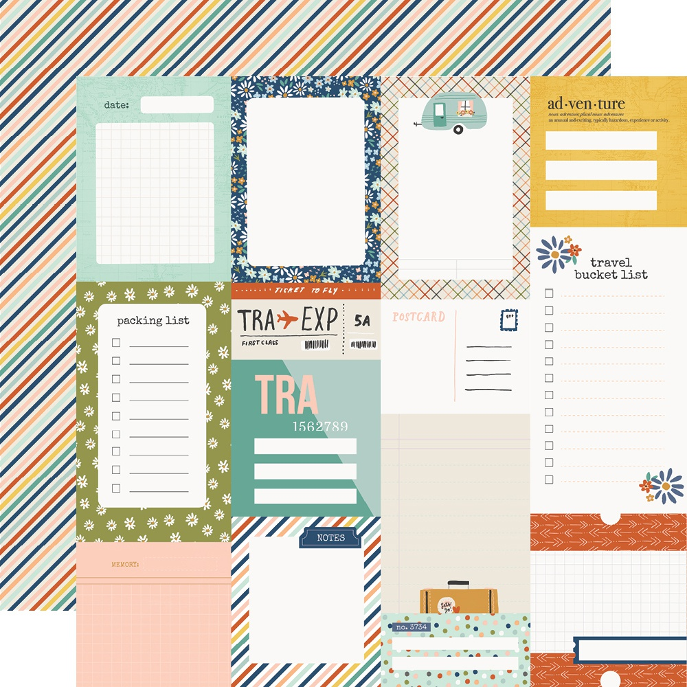Simple Stories - Safe Travels Double-Sided Cardstock - Journal Elements, 12x12