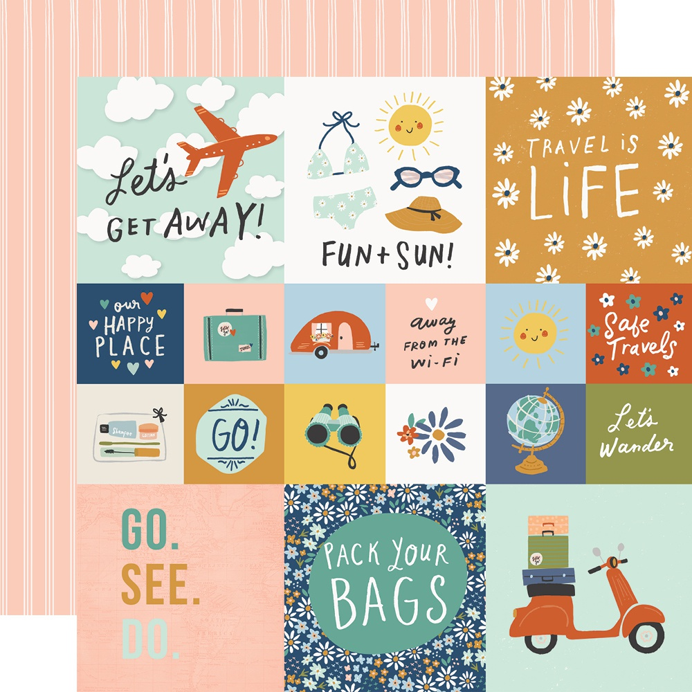 Simple Stories - Safe Travels Double-Sided Cardstock - 2x2/4x4 Elements, 12x12
