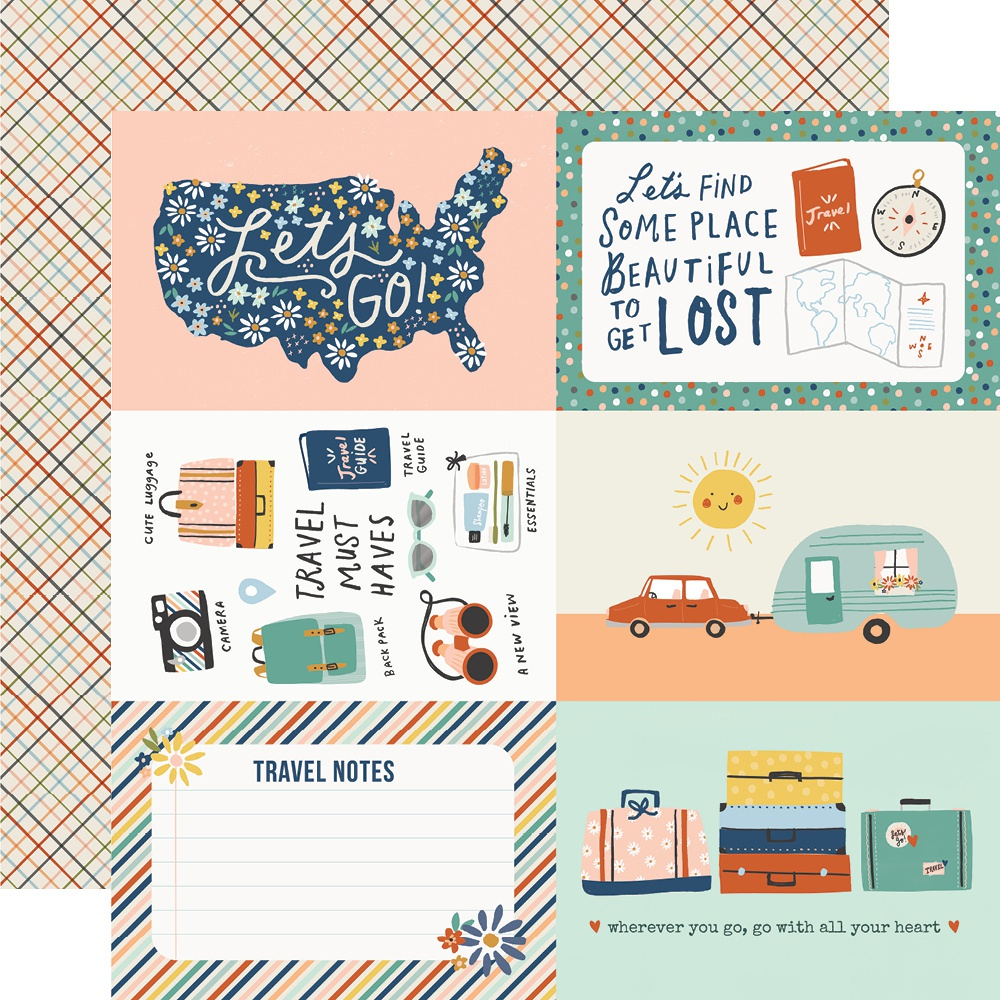 Simple Stories - Safe Travels Double-Sided Cardstock - 4x6 Elements, 12x12