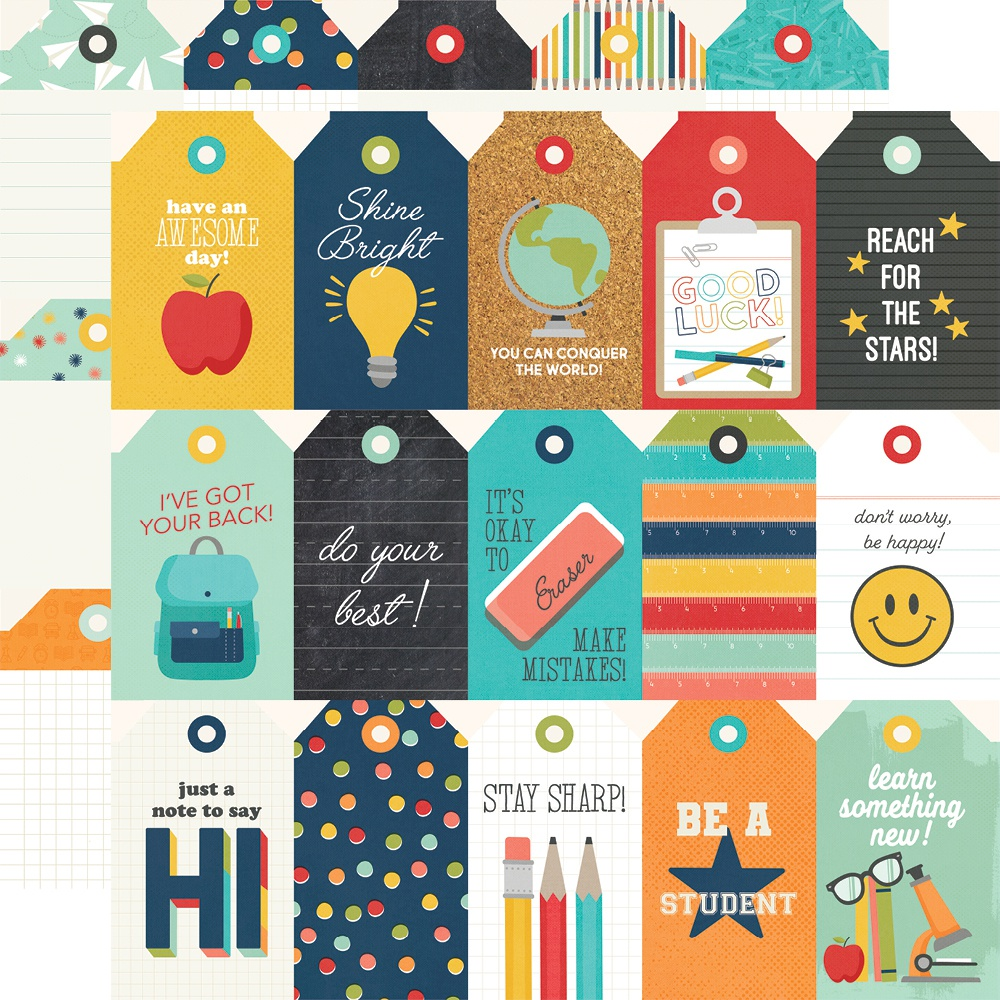 School Life Double-Sided Cardstock 12X12-Tags