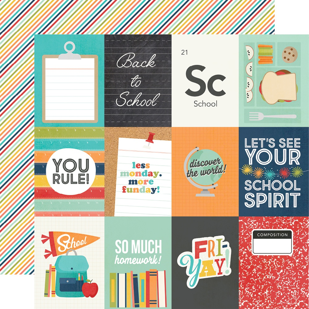 School Life Double-Sided Cardstock 12X12-3X4 Elements