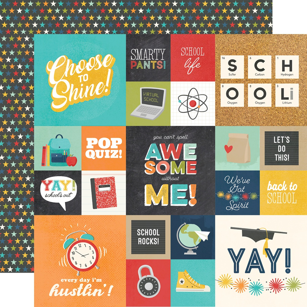 Simple Stories - School Life, 2x2 & 4x4 Elements, 12x12