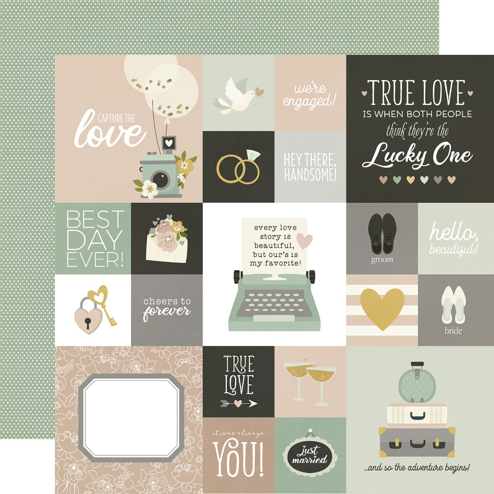 Happily Ever After Double-Sided Cardstock 12X12-2X2 & 4X4 Elements