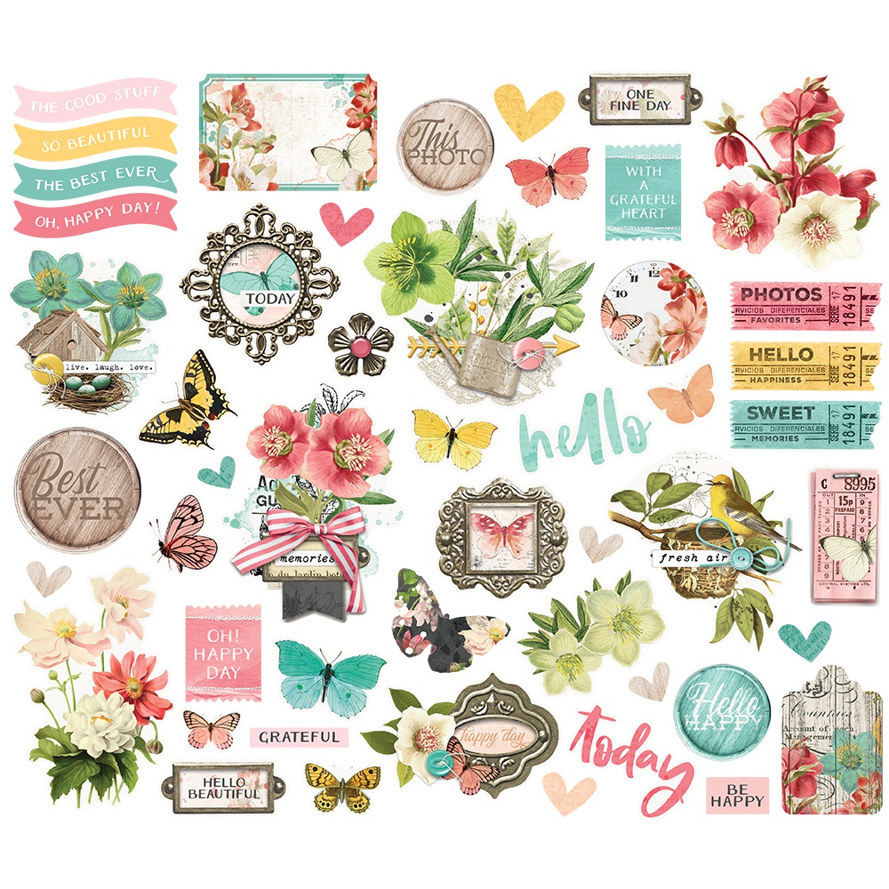 Simple Vintage Cottage Fields Bits & Pieces Die-Cuts 50/Pkg-