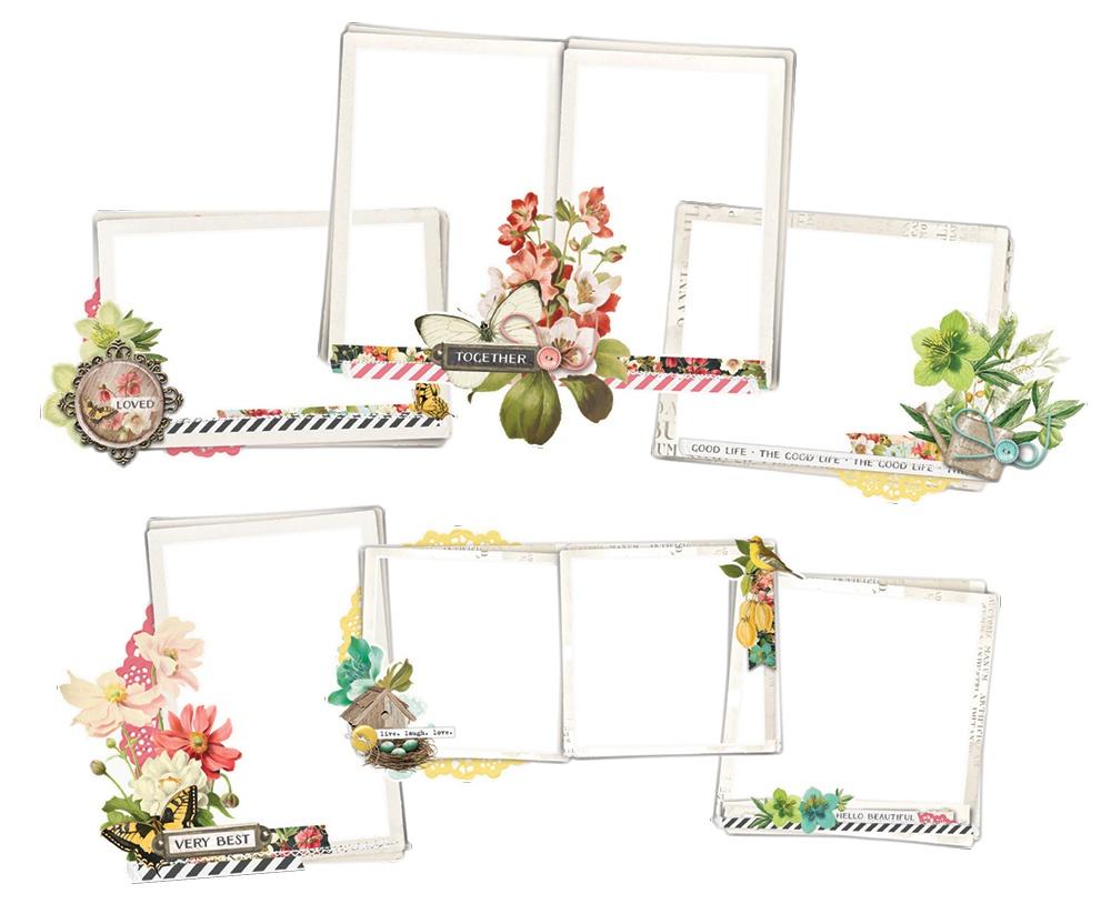Simple Vintage Cottage Fields Chipboard Frames-