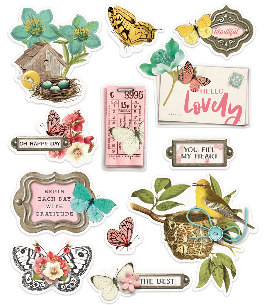 Simple Vintage Cottage Fields Layered Stickers 12/Pkg-