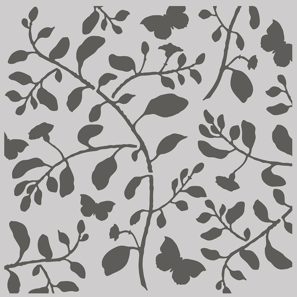 Simple Stories Simple Vintage Cottage Fields Stencil 6X6-Branch & Butterfly