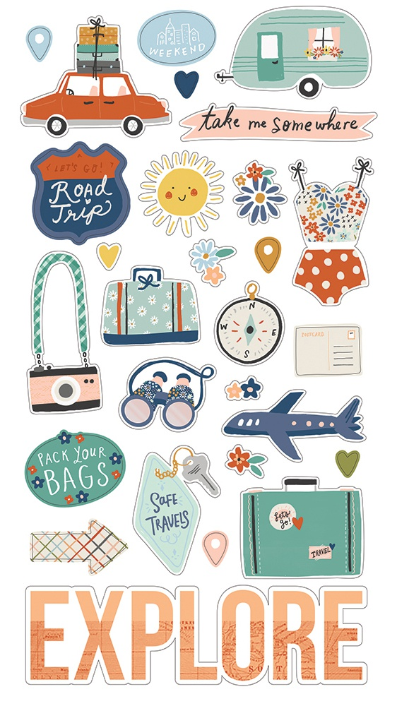 Safe Travels Chipboard Stickers 6X12-