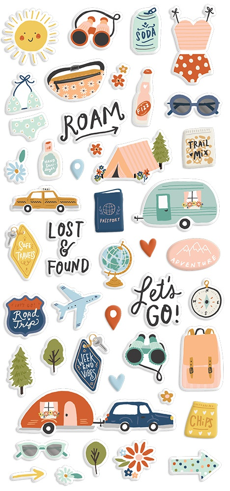 Safe Travels Puffy Stickers 45/Pkg-