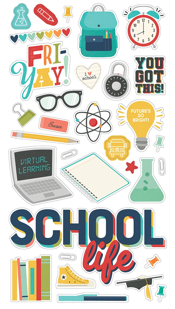 School Life Chipboard Stickers 6X12-