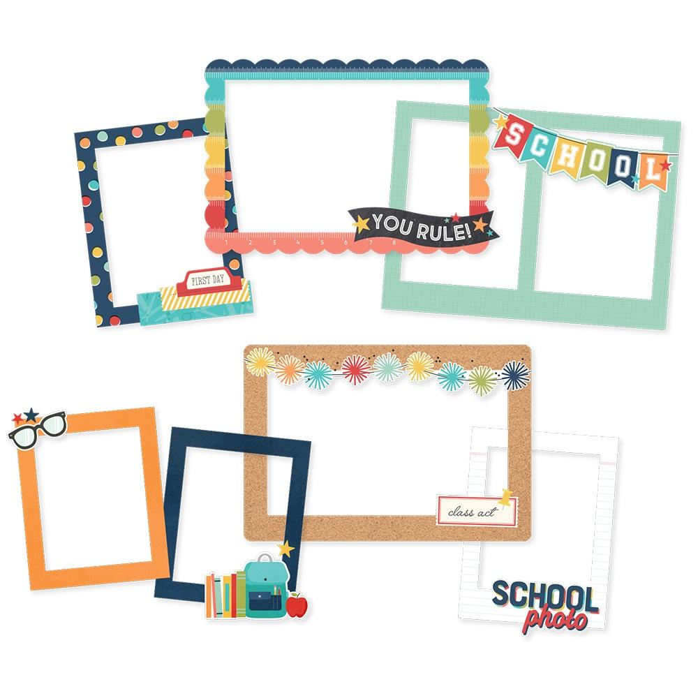 School Life Chipboard Frames-