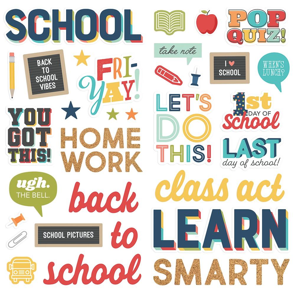 School Life Foam Stickers 45/Pkg-