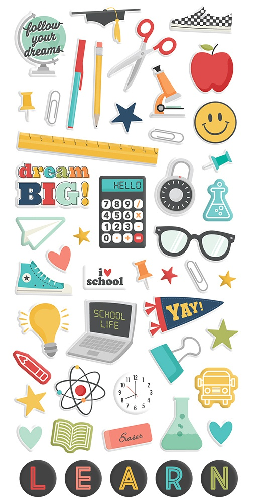 School Life Puffy Stickers 49/Pkg-